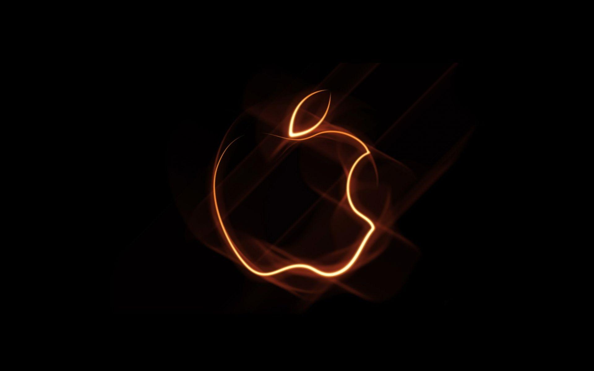 Apple на чёрном фоне обои для рабочего