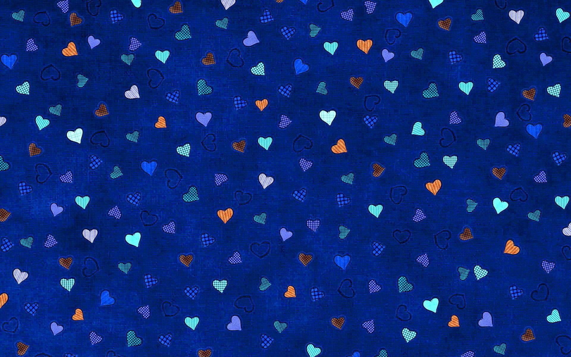 Сердечки синий фон обои для рабочего