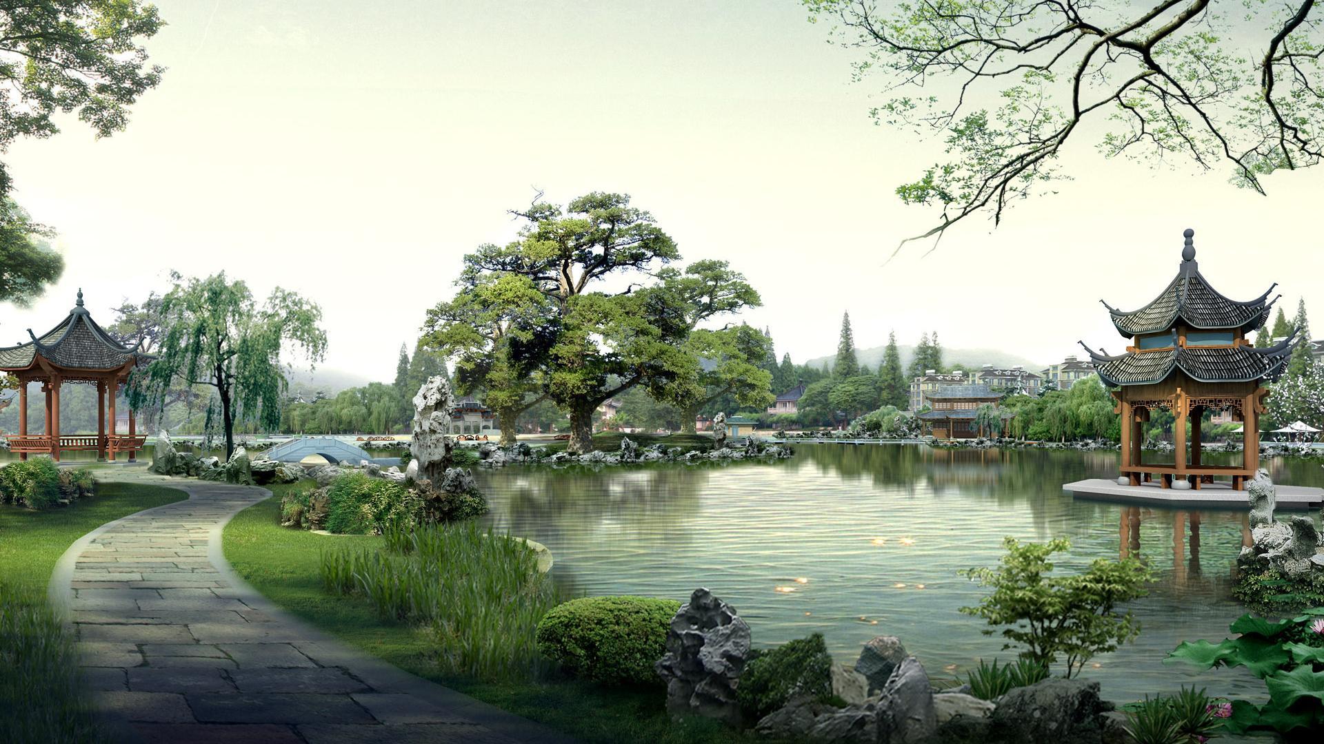Японский сад дорожка храм 1920x1080