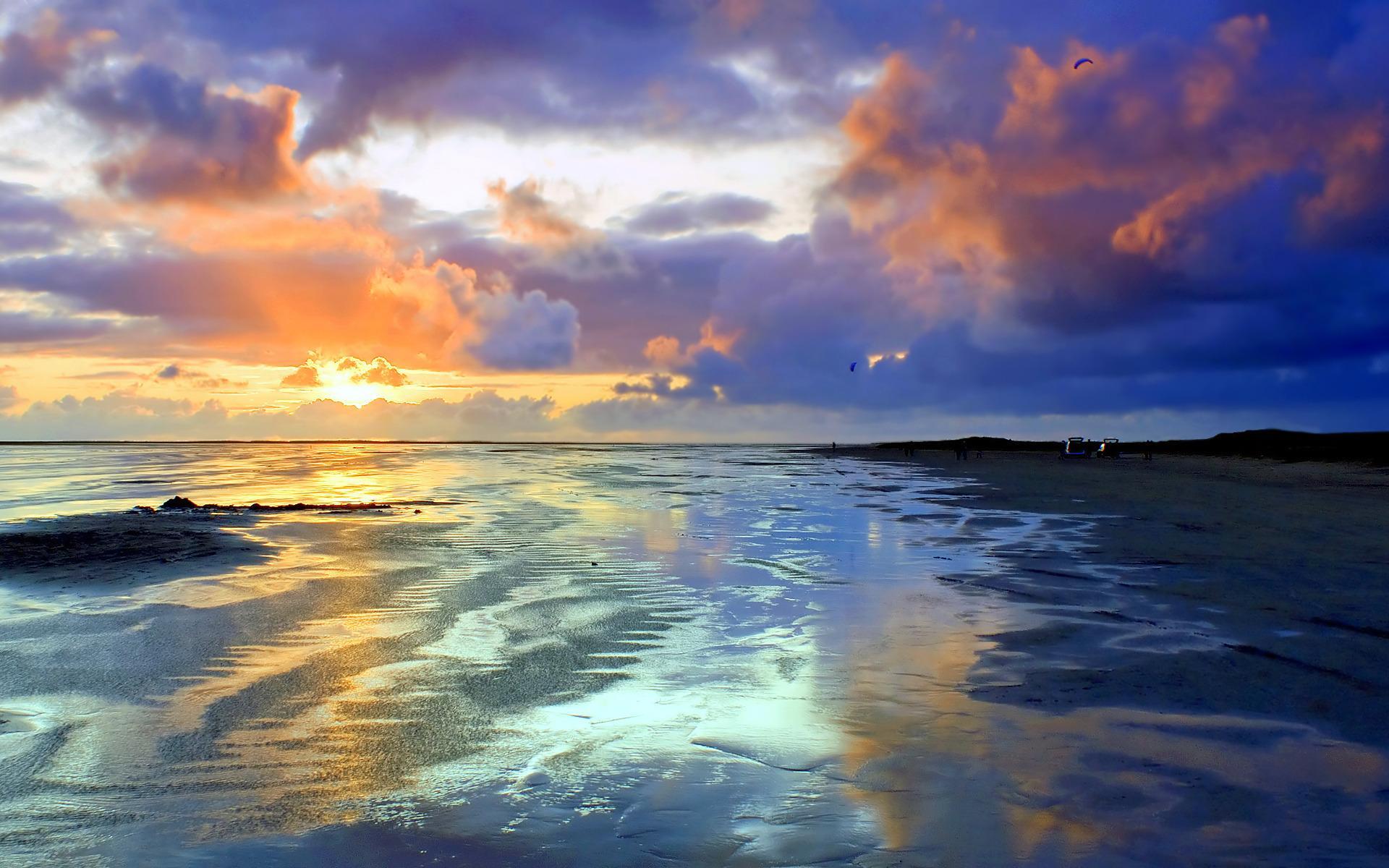 Пейзаж побережье песок вечер закат