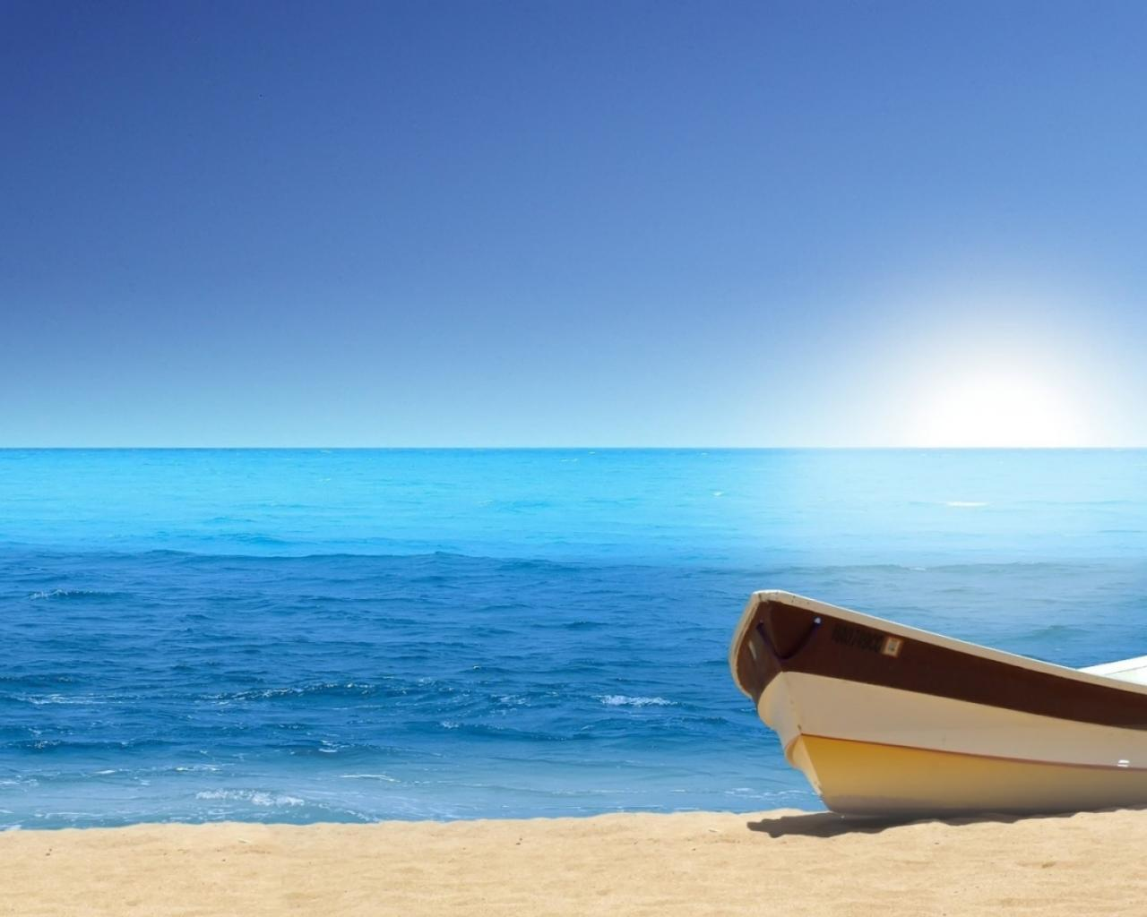 Море океан лодка пляж лето отдых