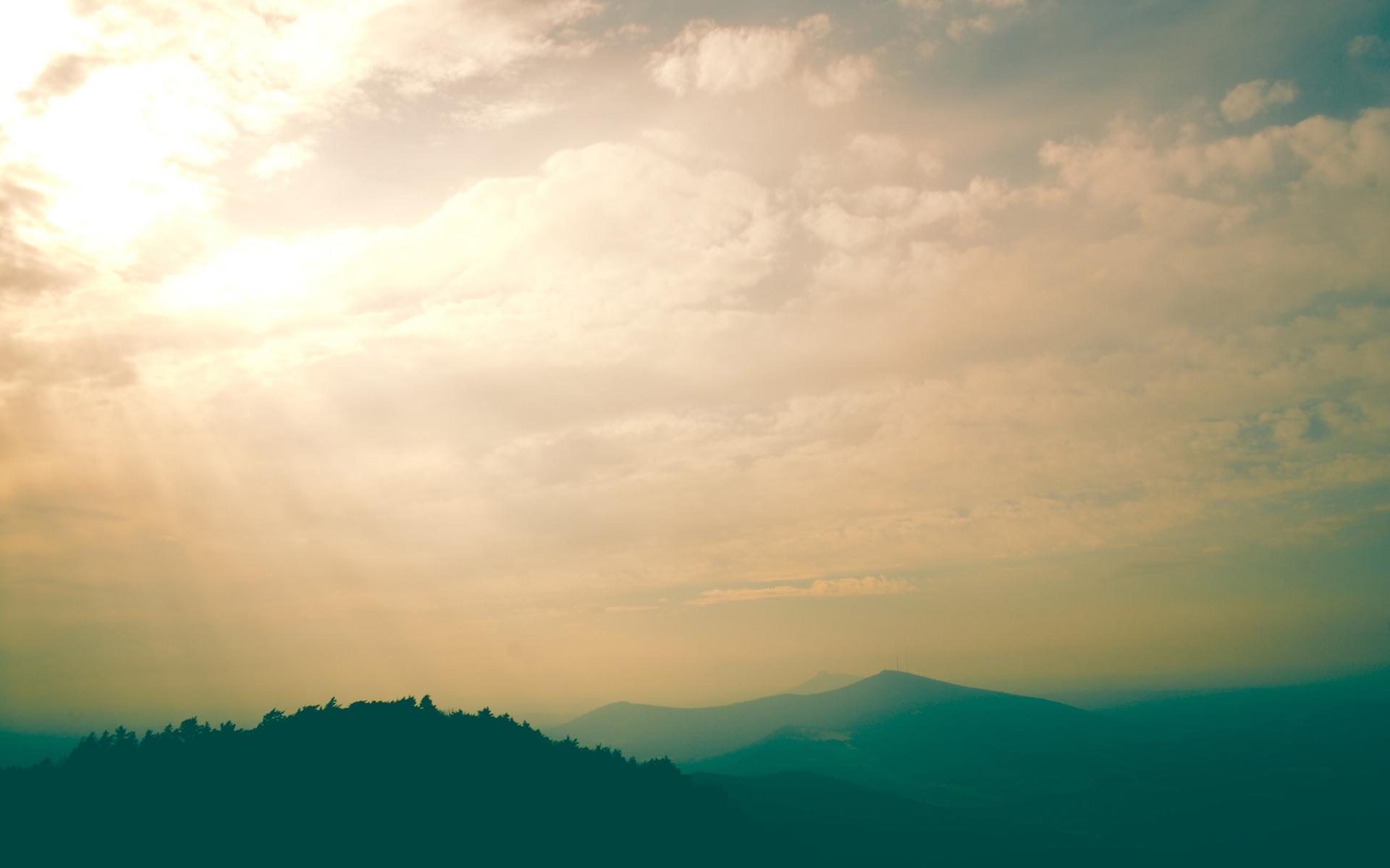 Утро пейзаж небеса облака небо 1920x1200