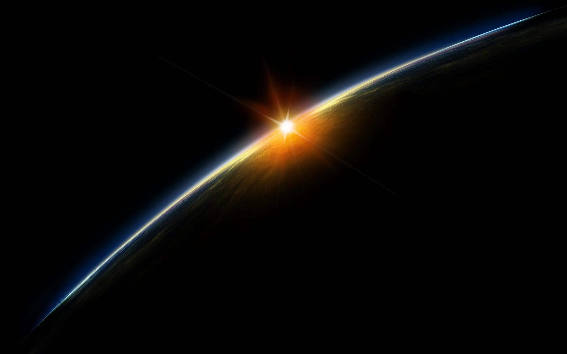 Закат космос земля солнце обои для