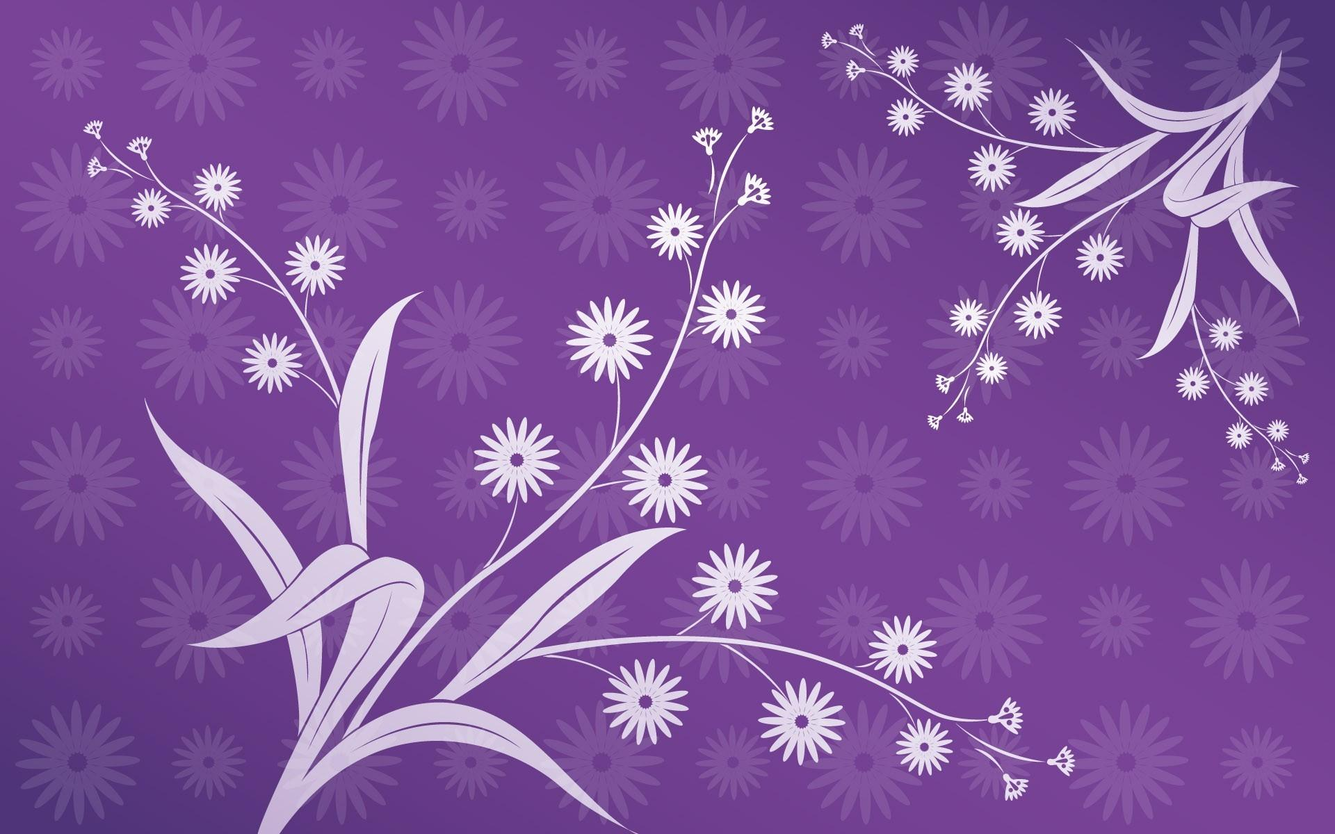 Цветы листья фиолетовый фон 1920x1200