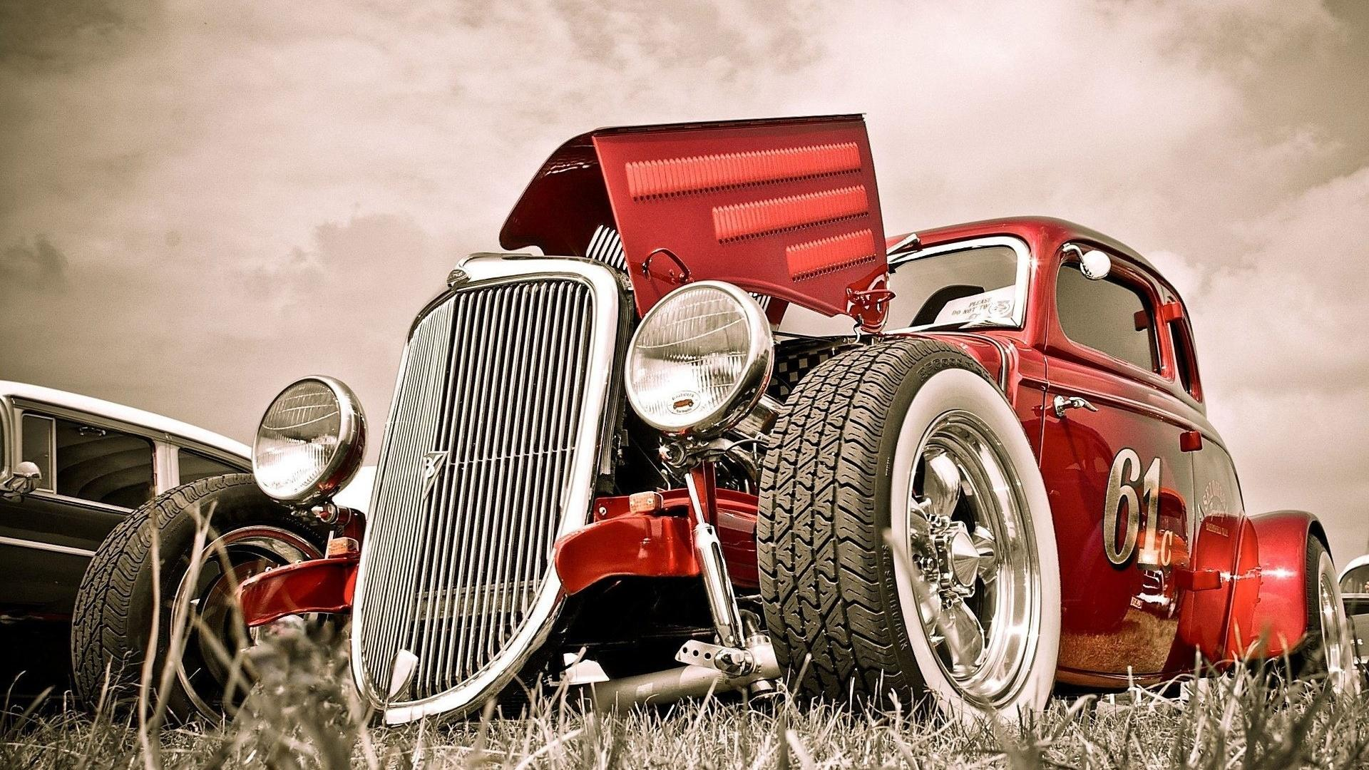 Hot rod, old car, автомобили, машины, авто 1920x1080