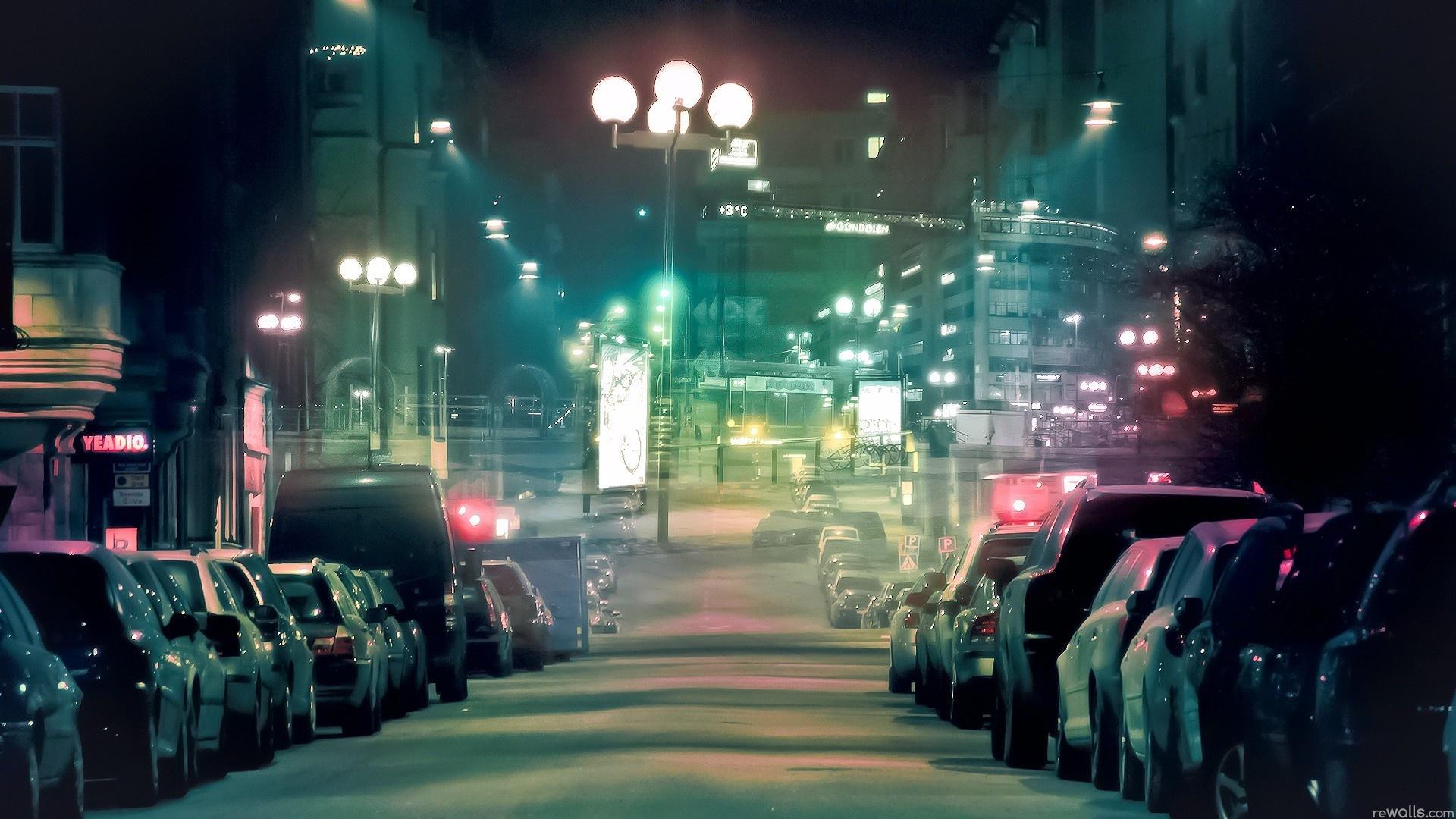 Город ночь фонари улица машины обои