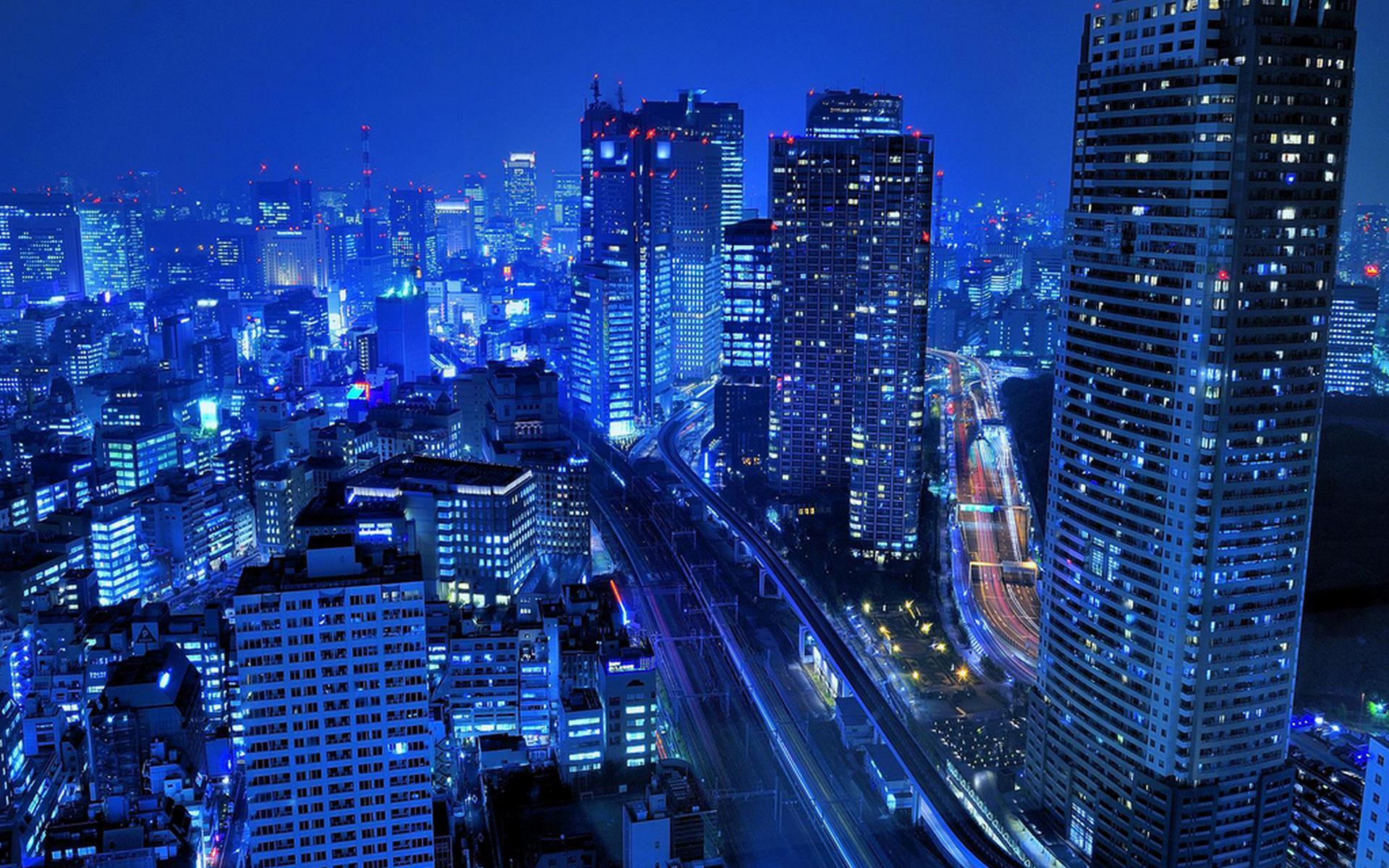 Скачать обои Город, синий, ночной, небоскребы / 1920x1200