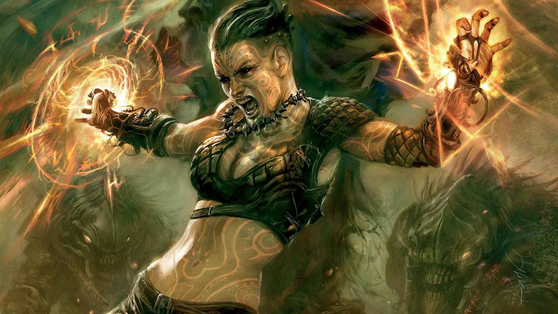 Девушка магия воин фентези обои для