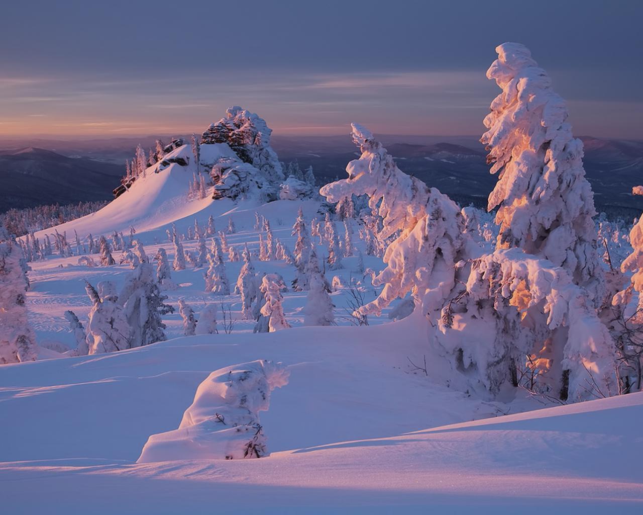Природа природа зима снег закат 1280x1024