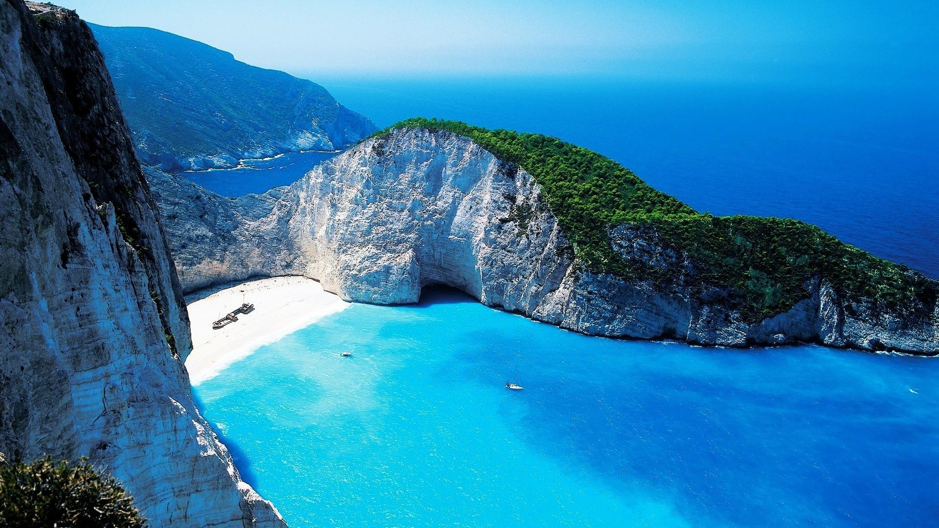 Океан вода горы скалы синие обои для