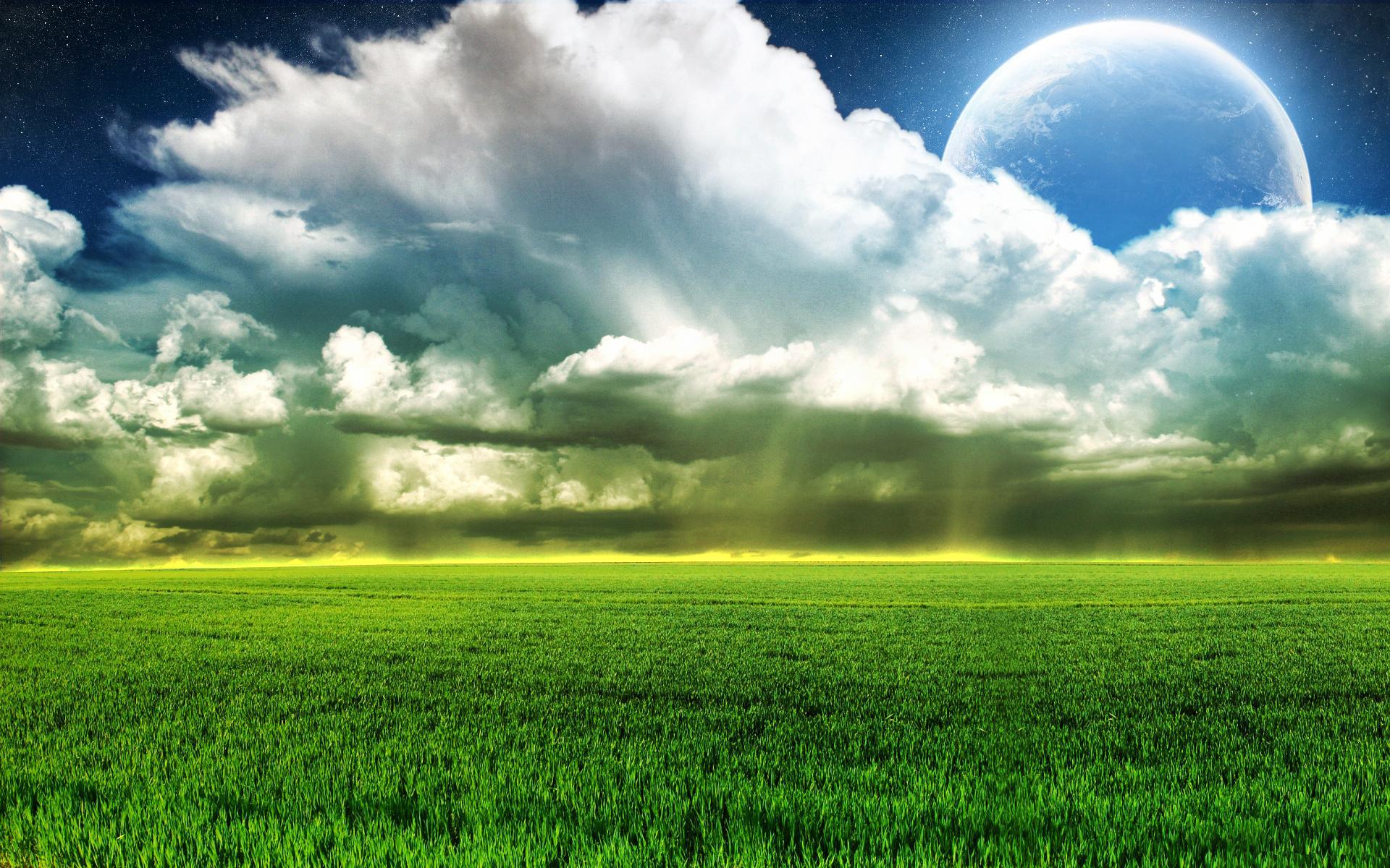 Пейзажи небо облака луна поле трава