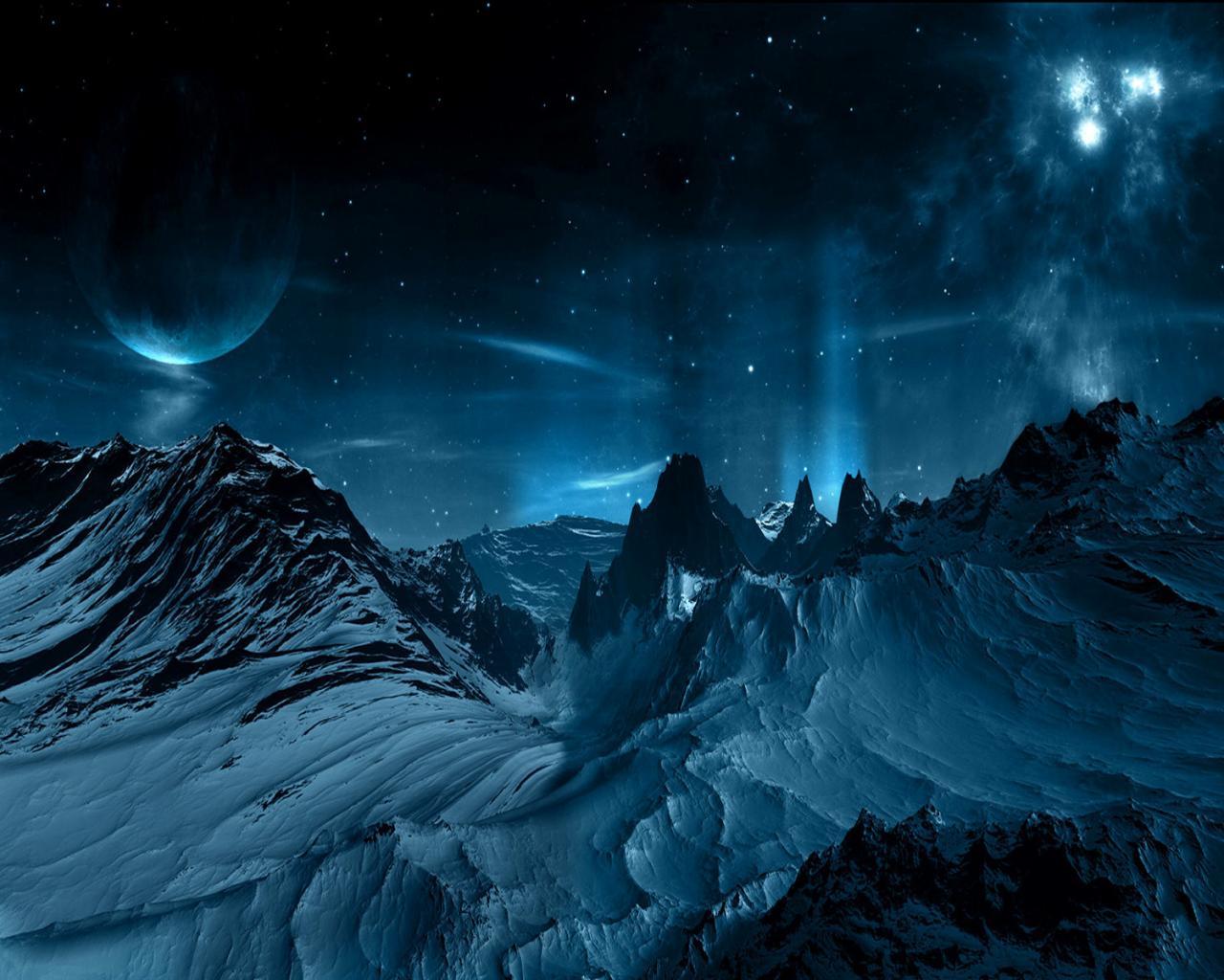 Космос космос горы планета снег 1280x1024