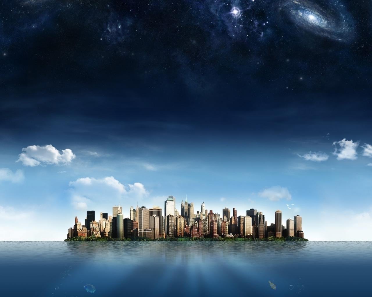Остров космос облака фантастика