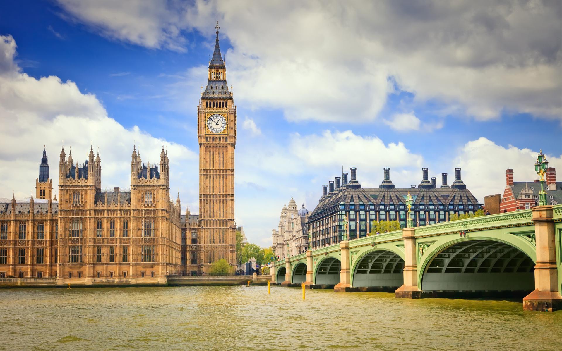 Лондон биг бен река мост часы обои
