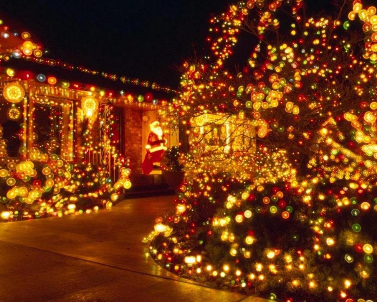 Новый год ночь елка гирлянда
