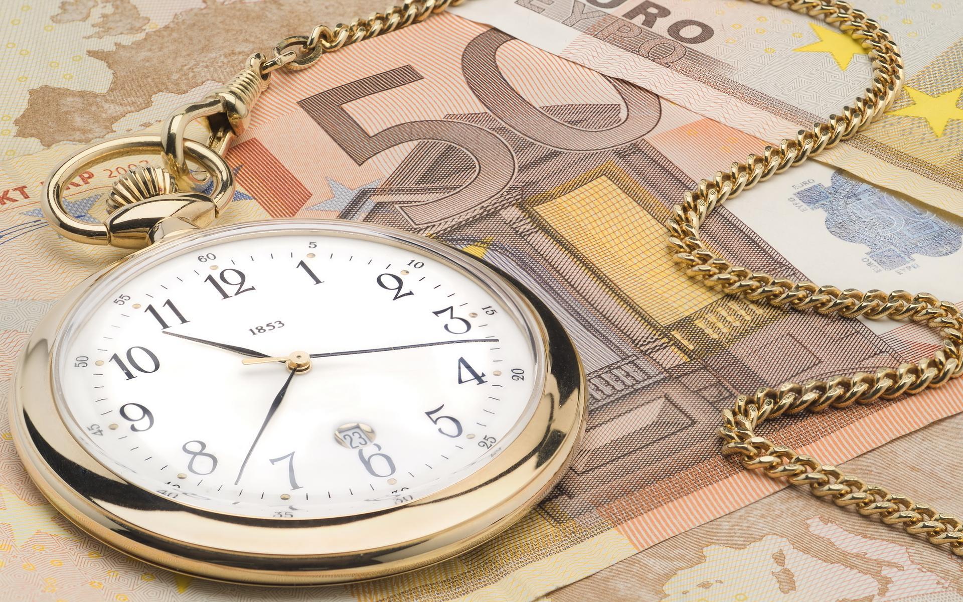 Евро часы время деньги цепочка обои