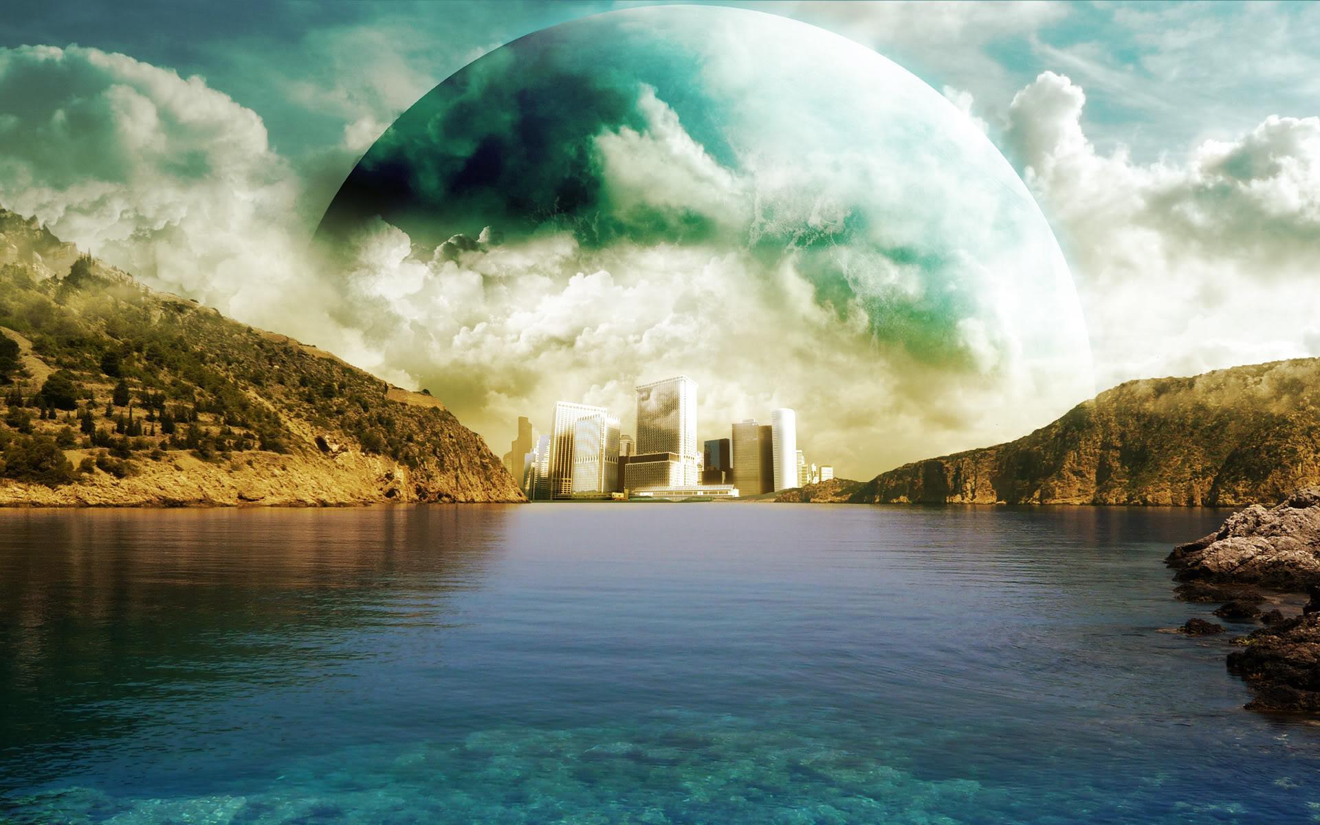Планета облака вода горы обои для