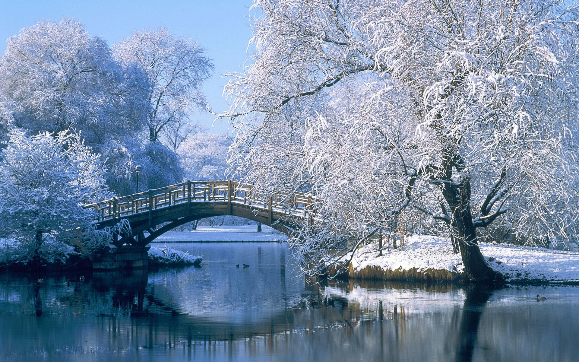 Германия мост зима обои для рабочего