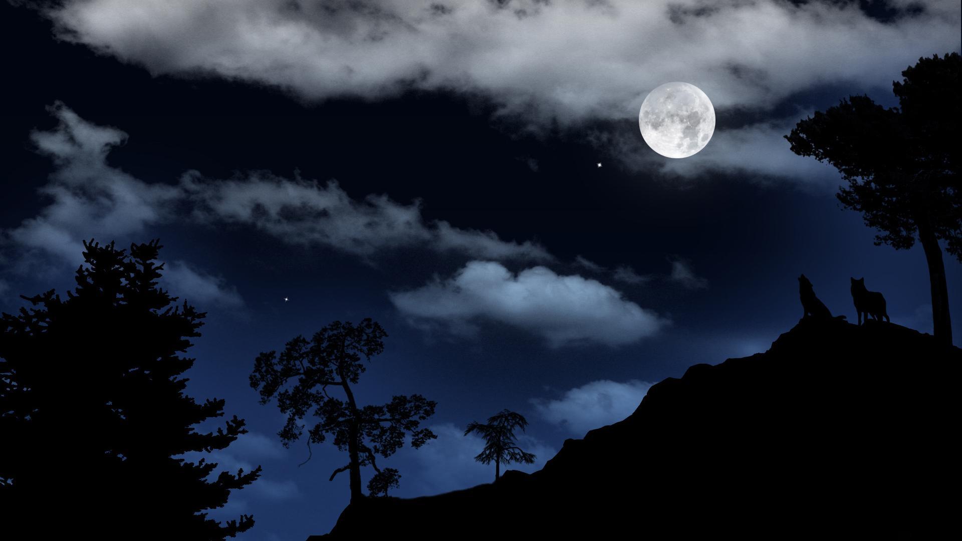 Луна волки пейзаж ночь небо звёзды