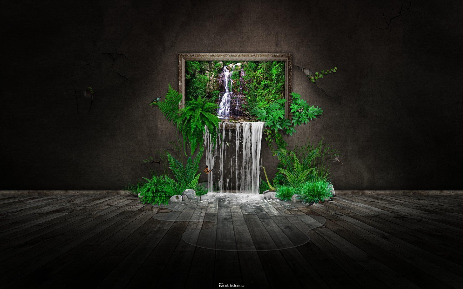 Картина водопад зелень природа