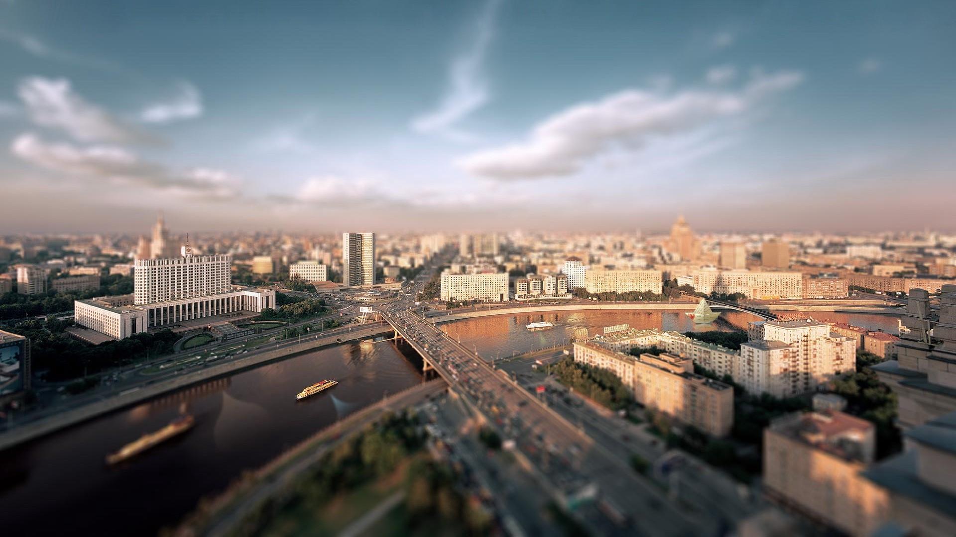 Москва река дома обои для рабочего