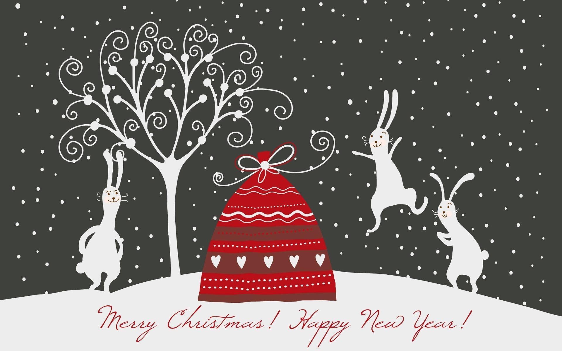 Кролики зайцы новый год рождество