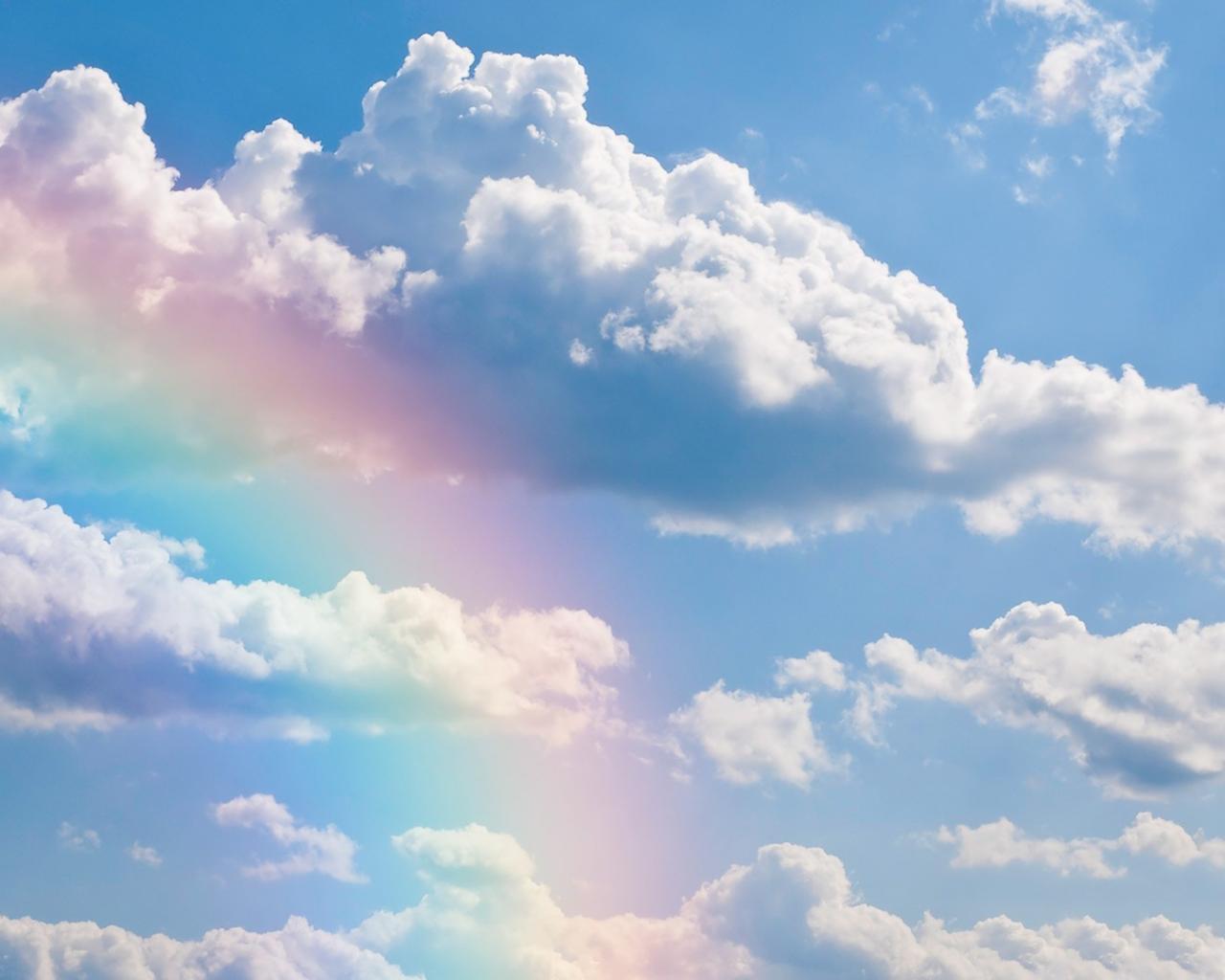 Небо облака радуга обои для рабочего