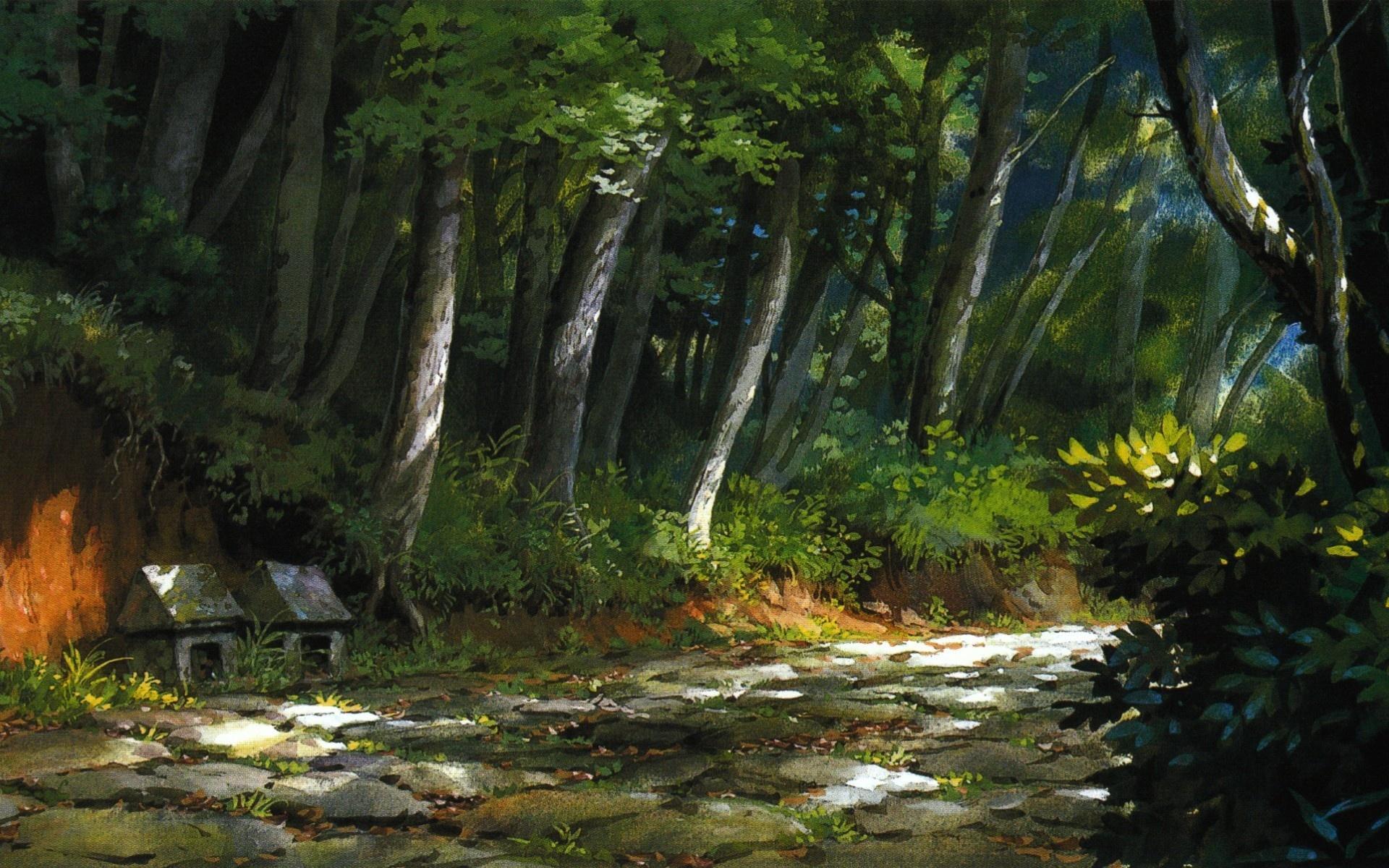 Дорога, картина, лес, трава, тропа обои ...: hq-wallpapers.ru/wallpapers/nature/pic60962_raz1920x1200