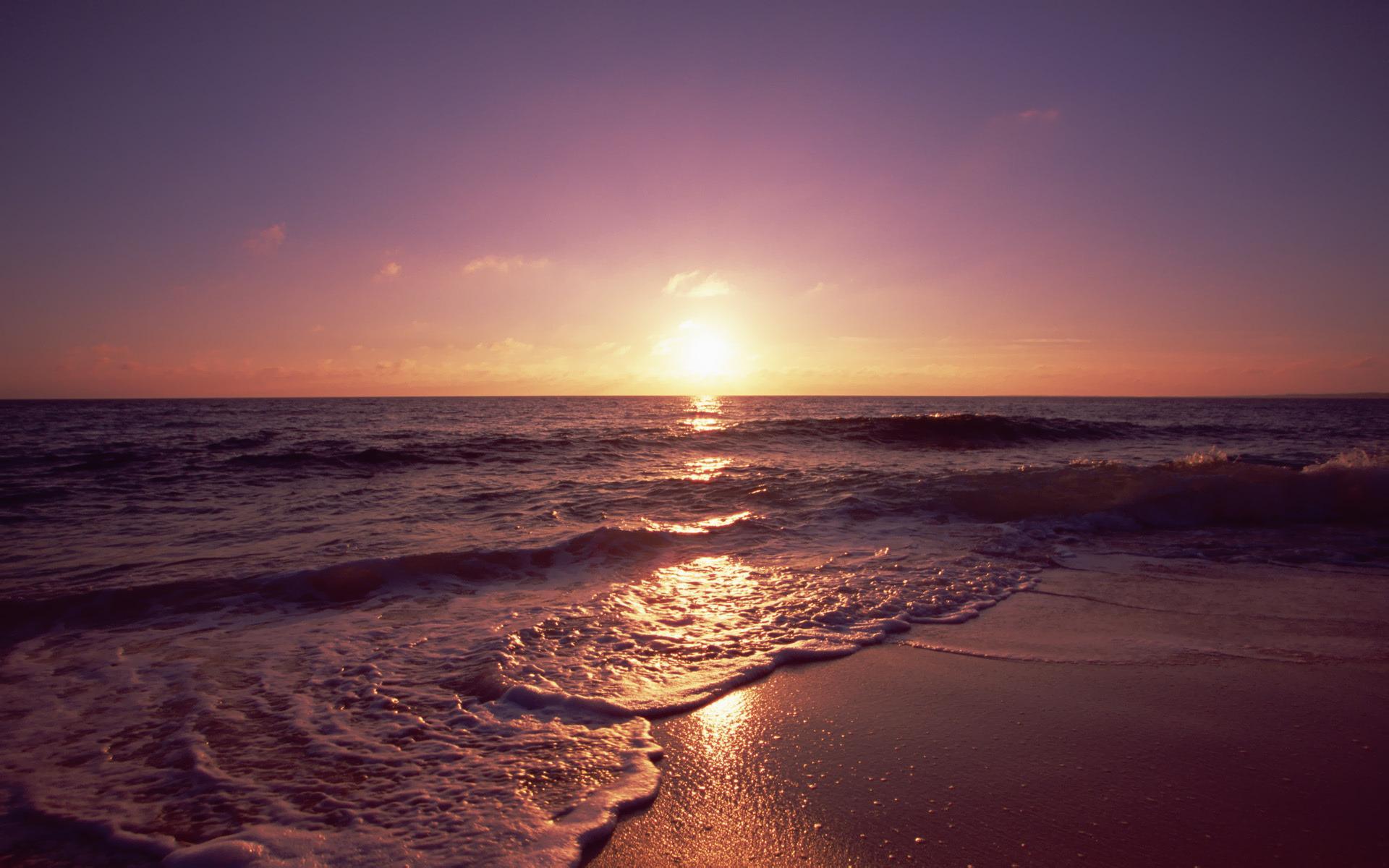 Пляж песок горизонт закат фон 1920x1200