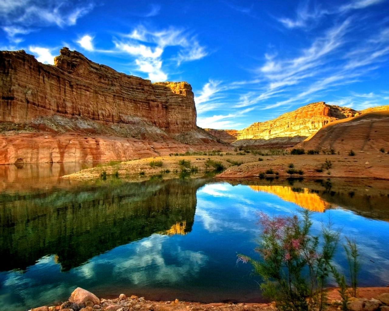 Обои природа природа озеро скалы небо