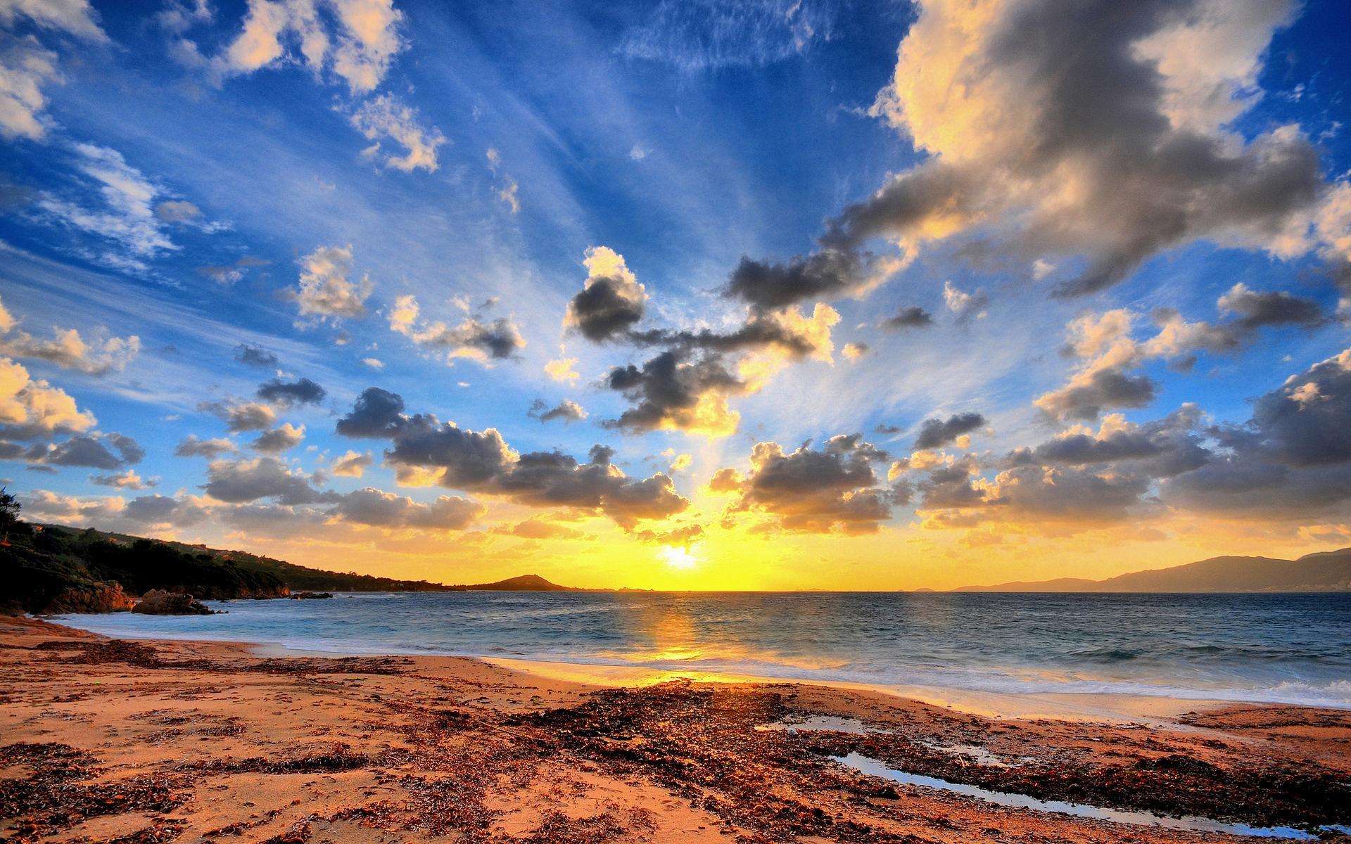 Пейзажи пляж берег вода небо солнце