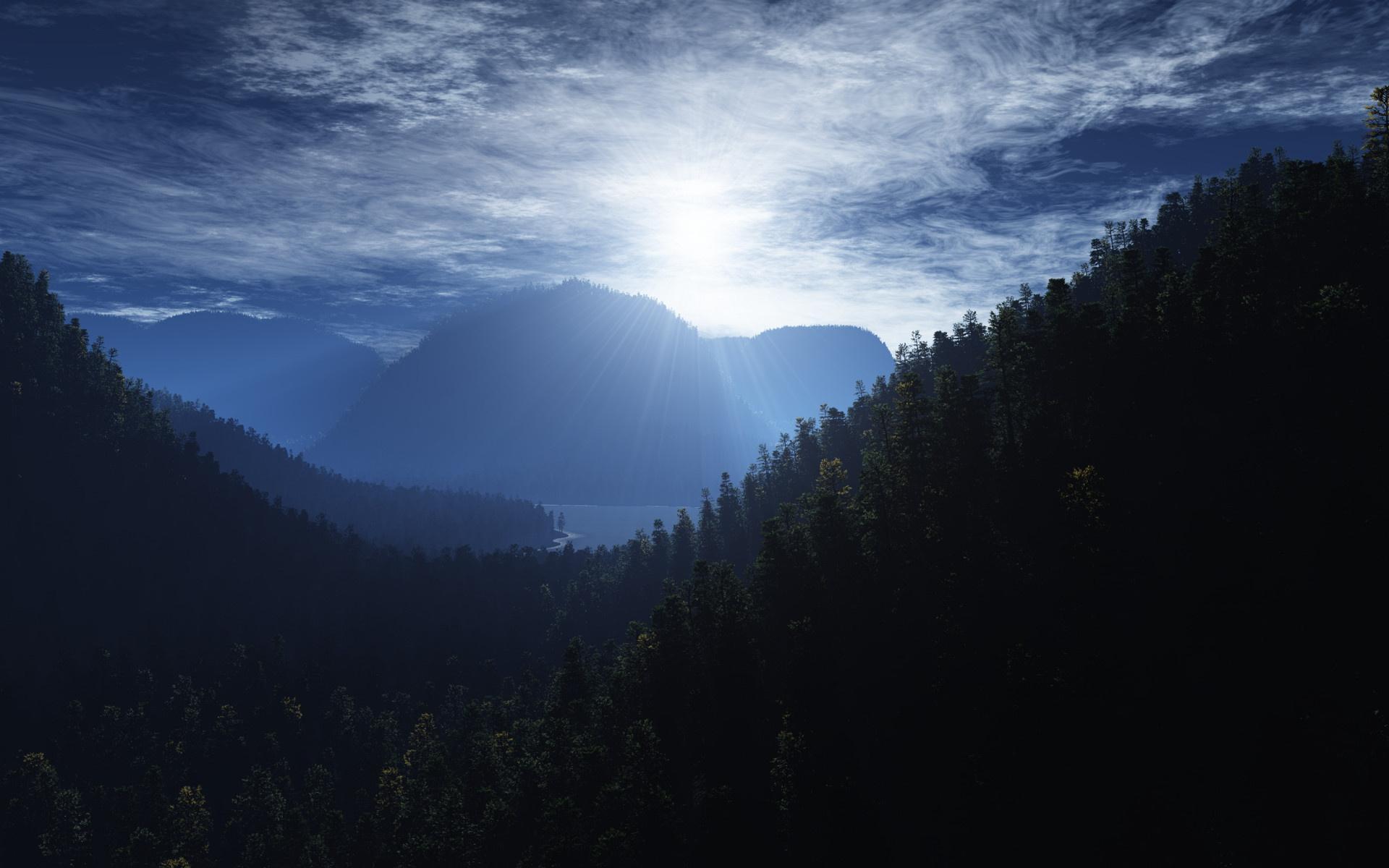 Горы лес небо обои для рабочего стола