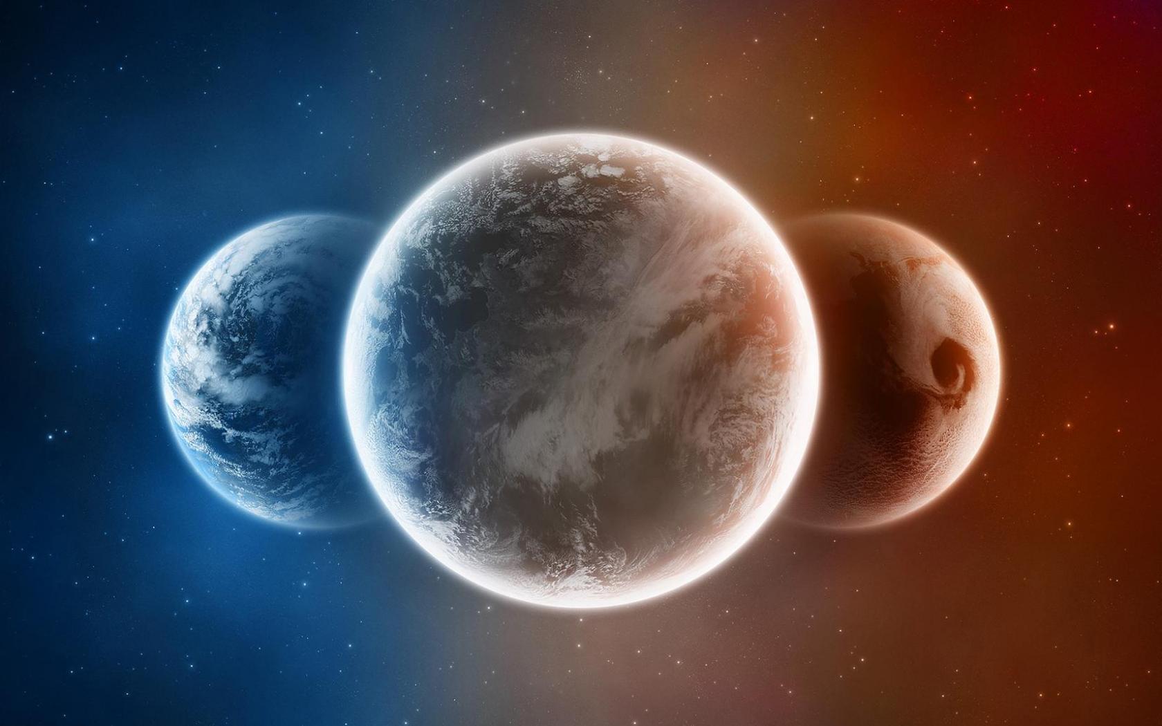 Обои космос три планеты космос 1680x1050