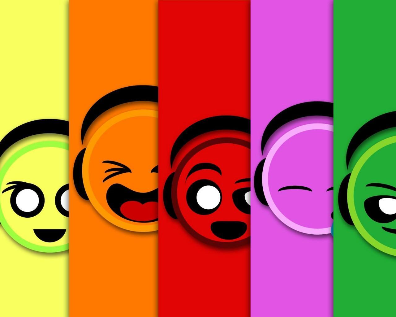 разноцветные смайлики картинки: