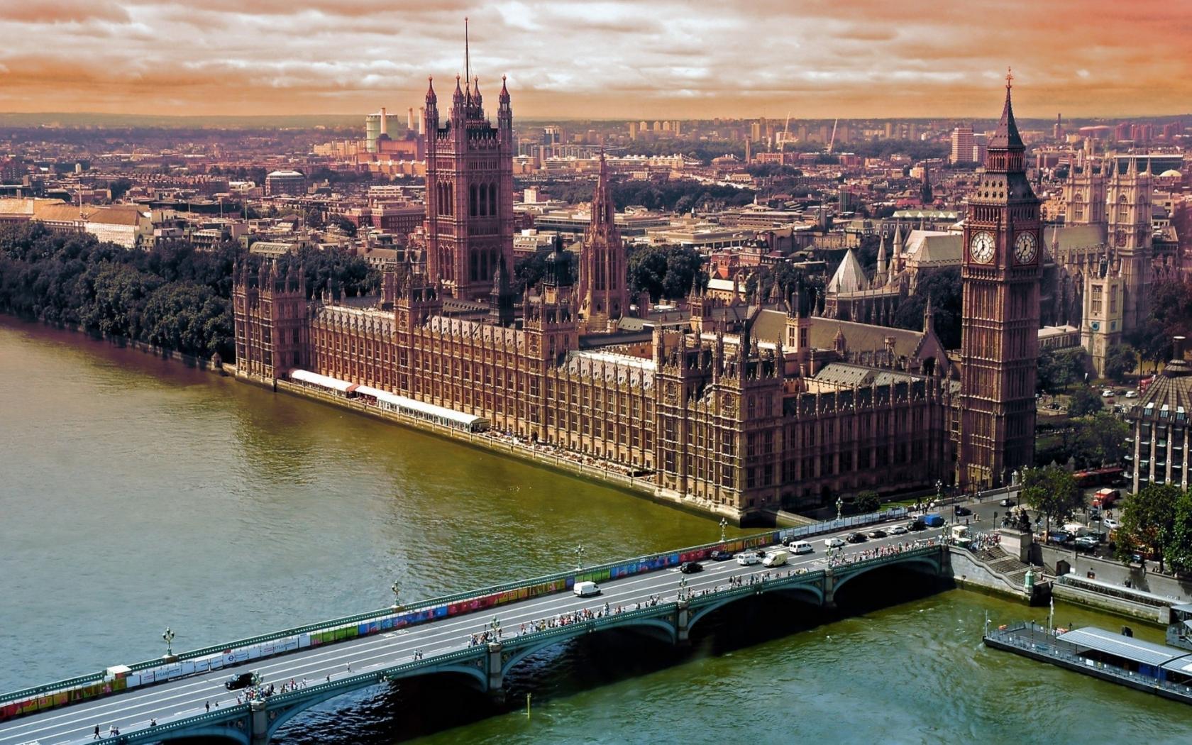 Город лондон london мост река темза