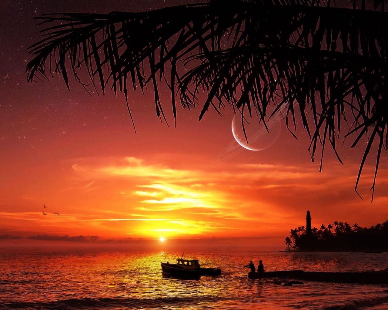 Закат на берегу океана обои для рабочего стола, картинки ...: http://hq-wallpapers.ru/wallpapers/nature/pic18644_raz1280x1024