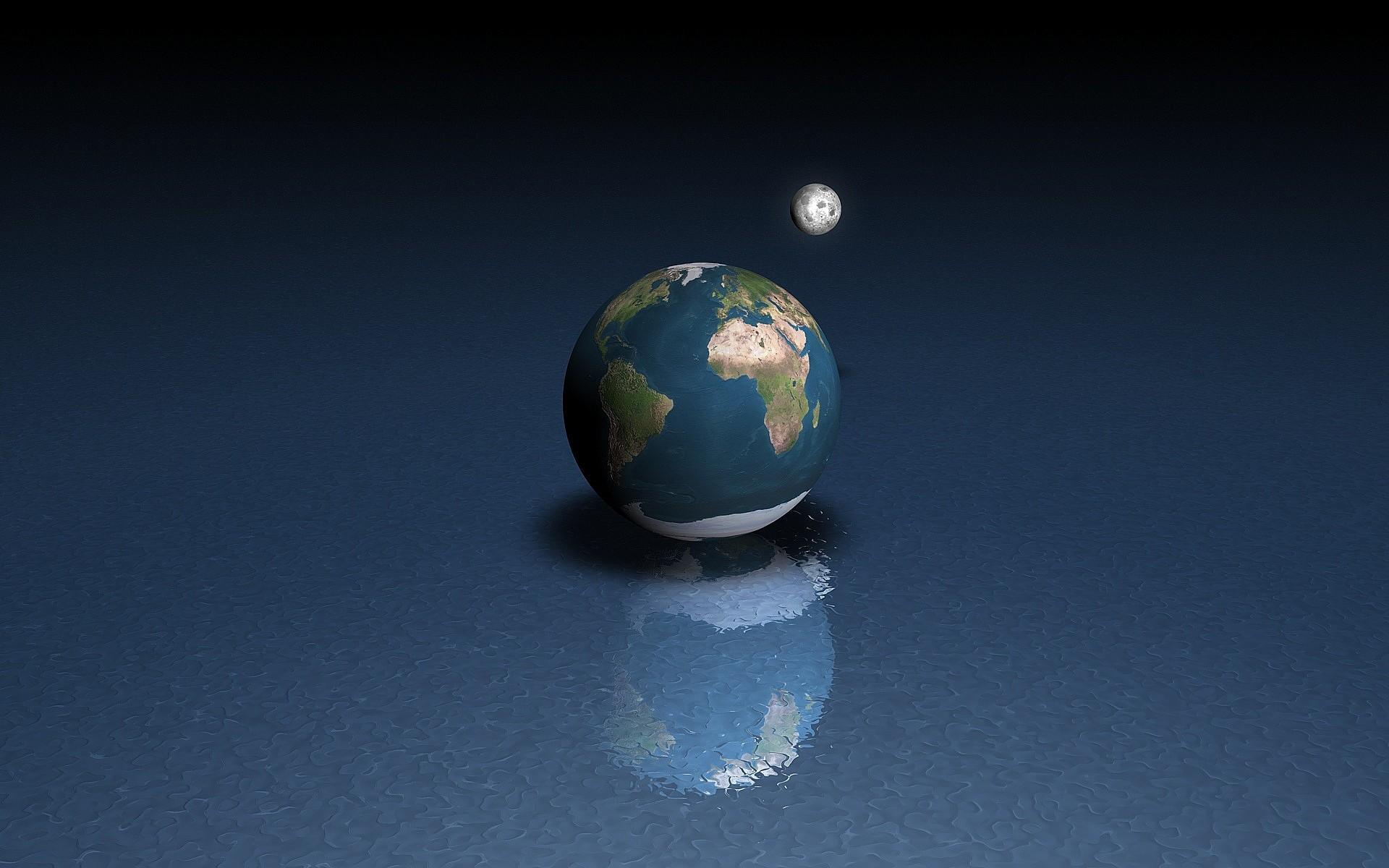 Земли и луны на поверхности воды обои