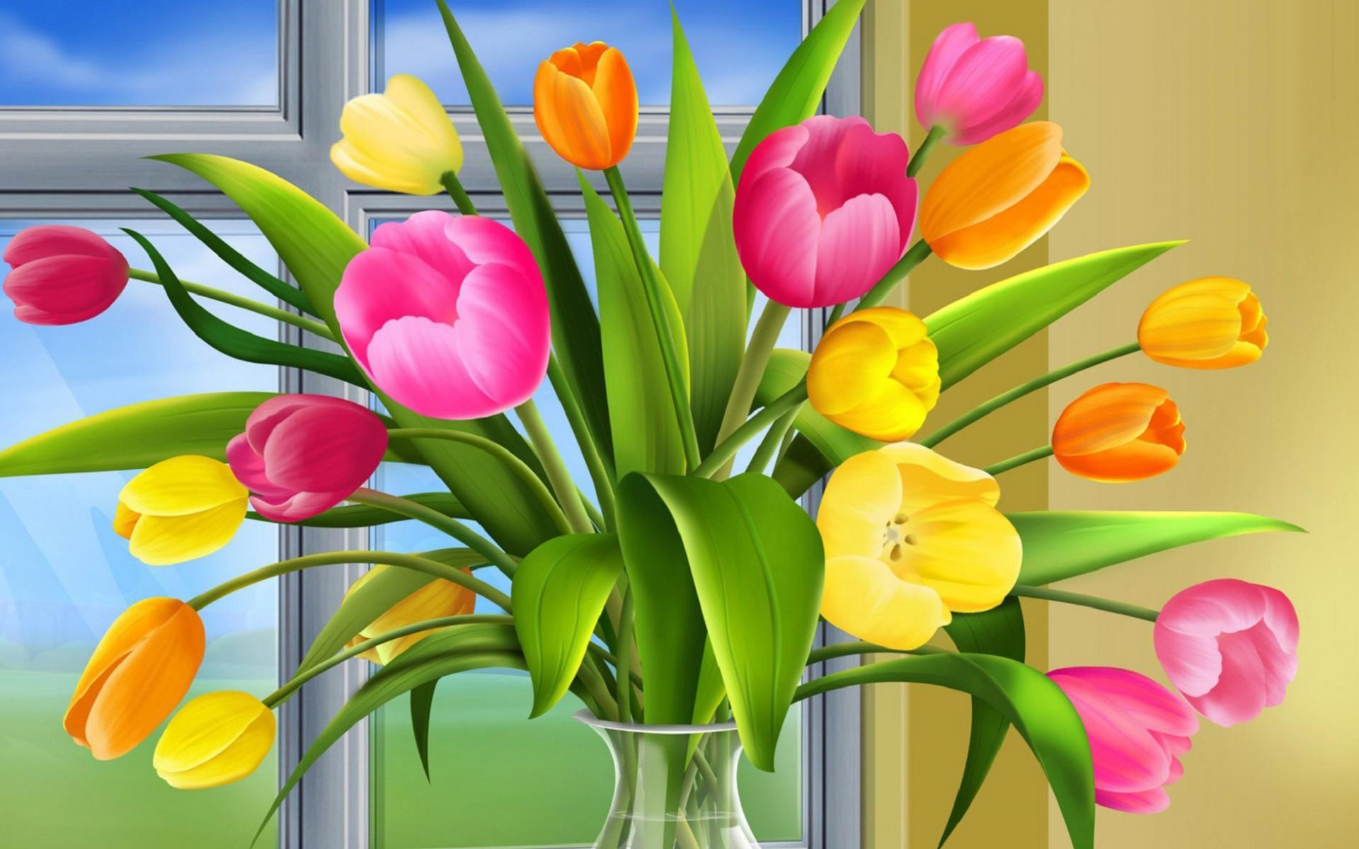 Прекрасные 3d цветы обои для рабочего