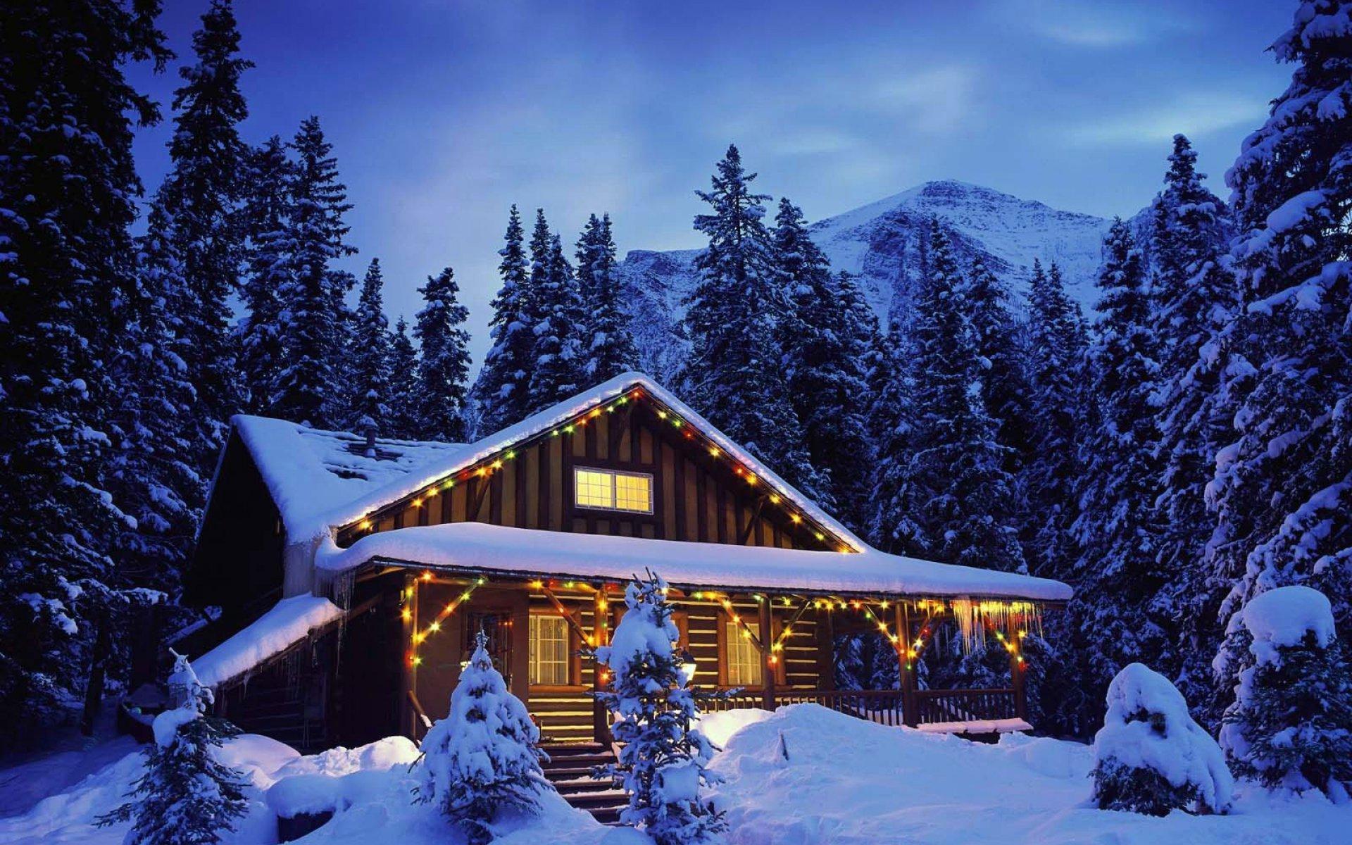 christmas cabin wallpaper 719562