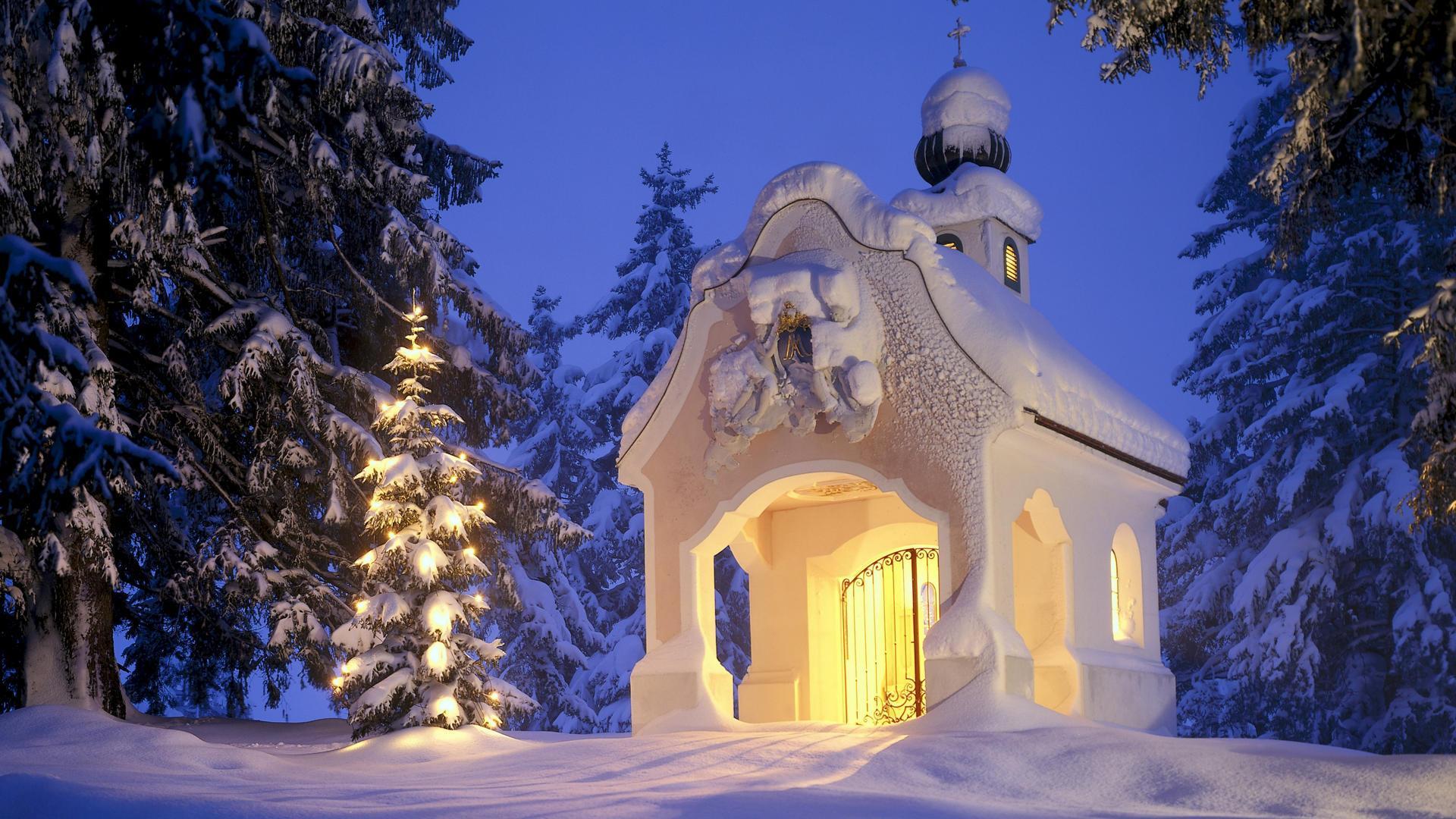 Зима снег елка часовня рождество