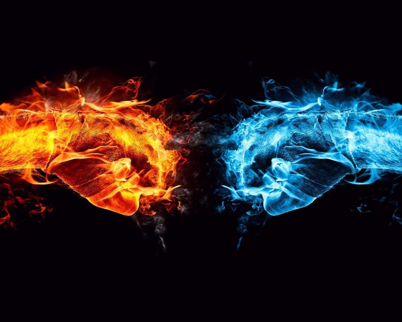 Столкновение стихий жара холод обои
