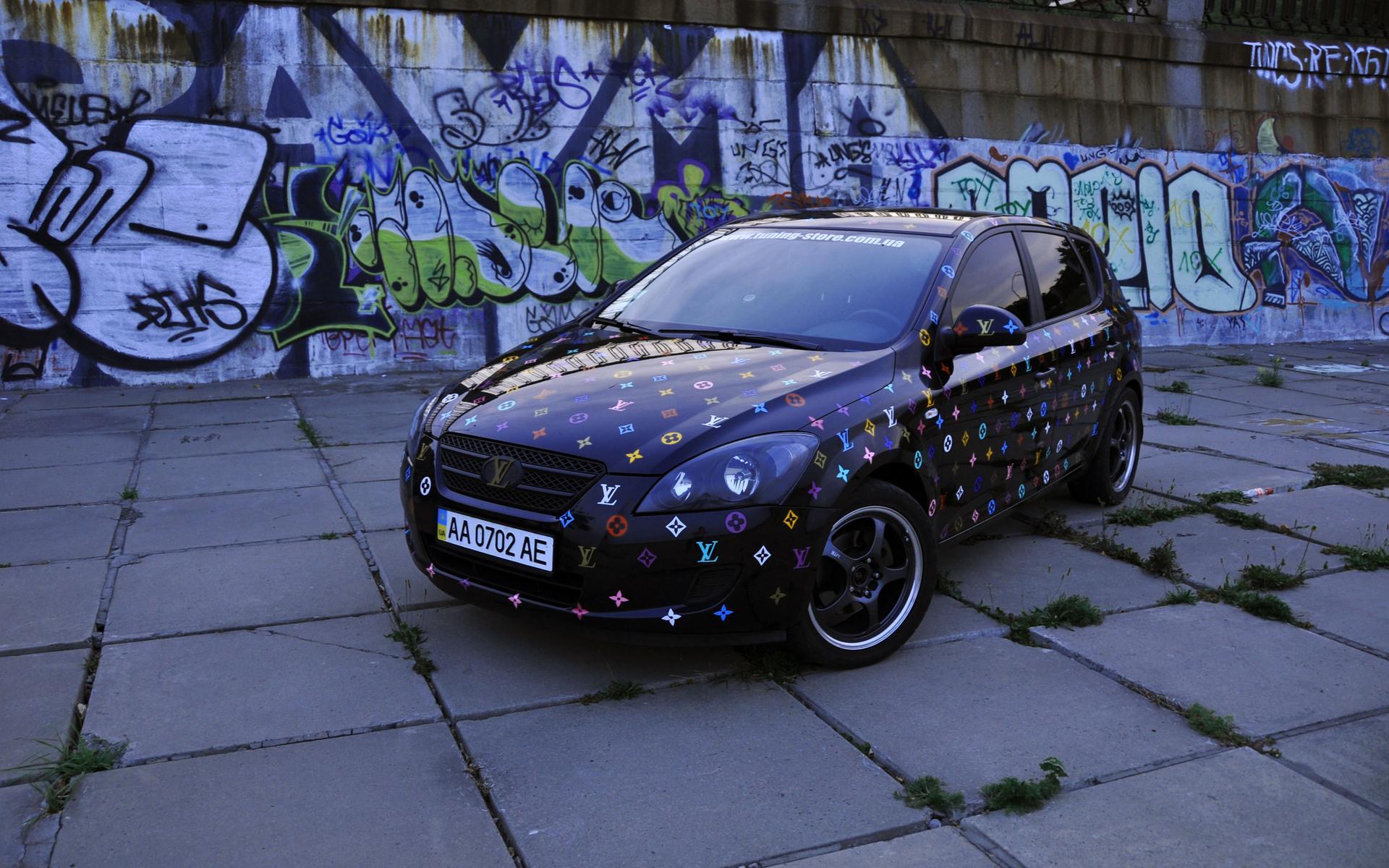 Kia Ceed Lv граффити дорога обои для рабочего стола