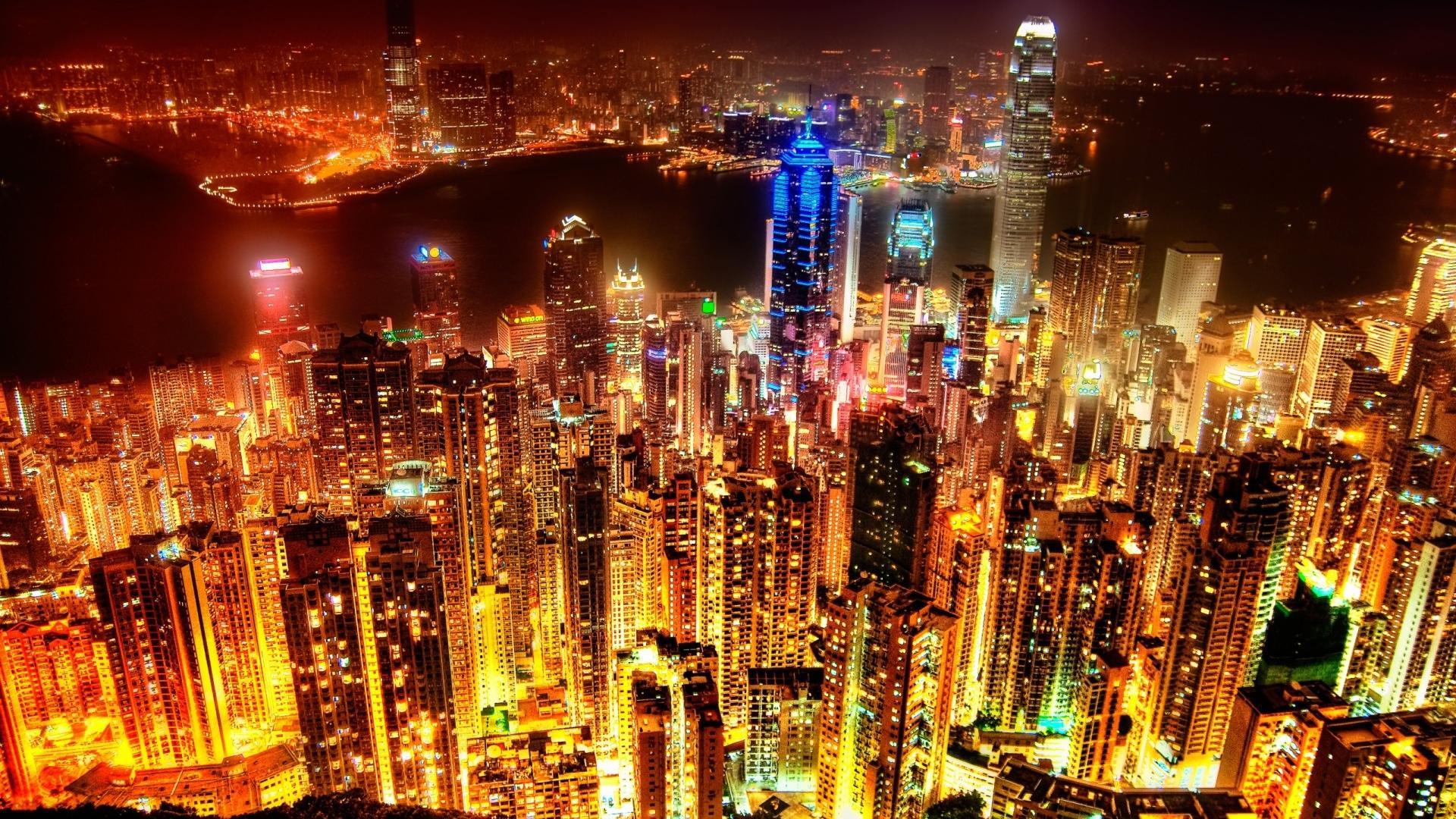 Ночной город, огни, небоскребы обои
