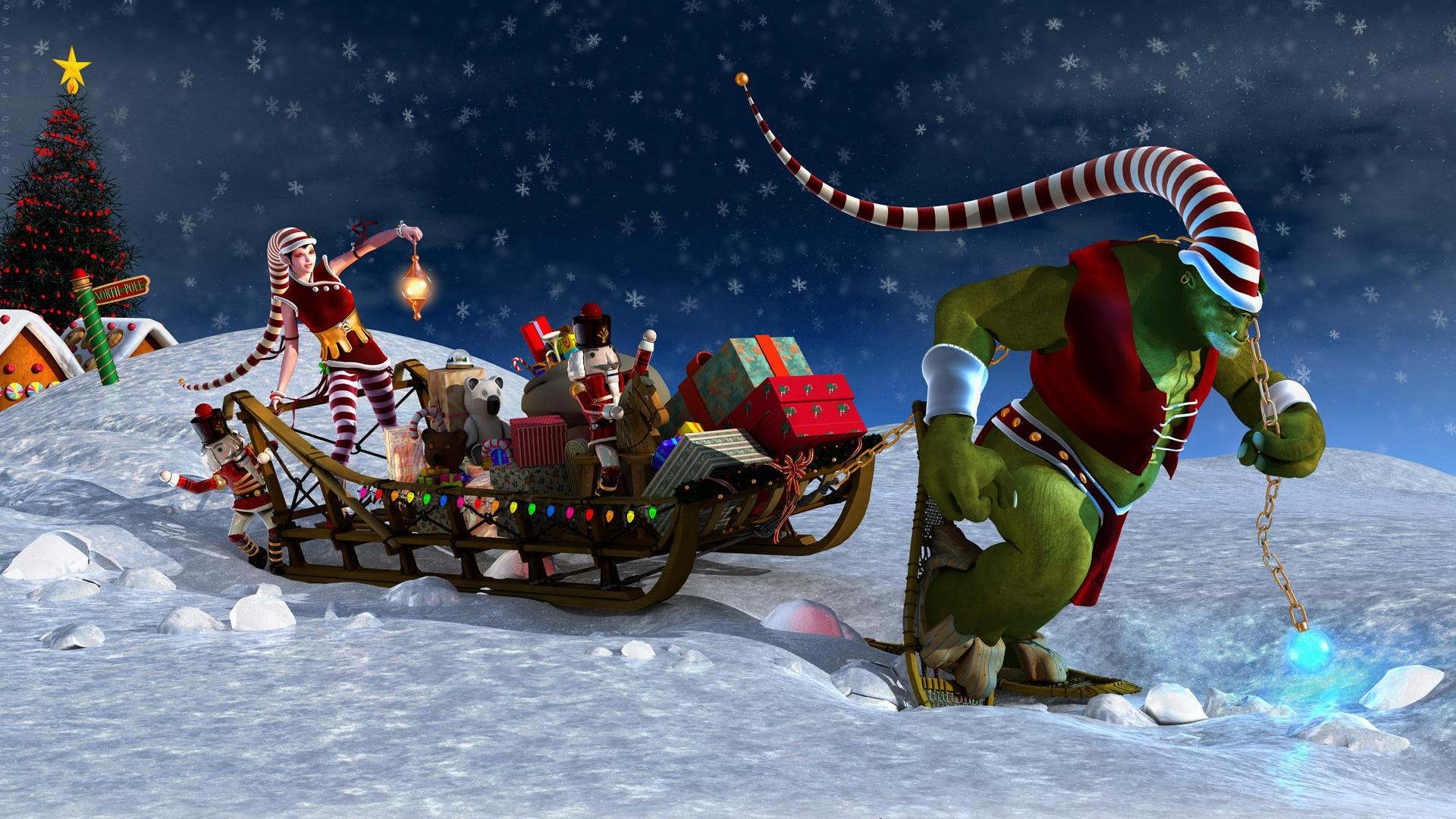 Санта клаус сани ёлка подарки аниме