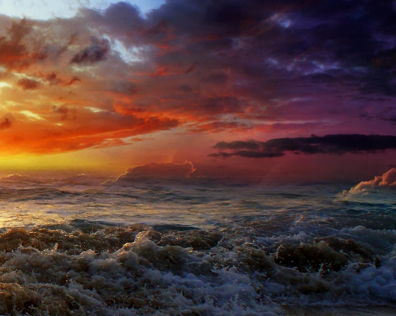 Солнце море шторм обои для рабочего