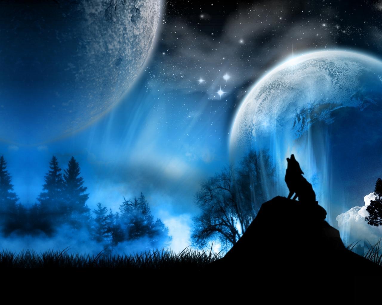Обои космос космос планеты волк 1280x1024