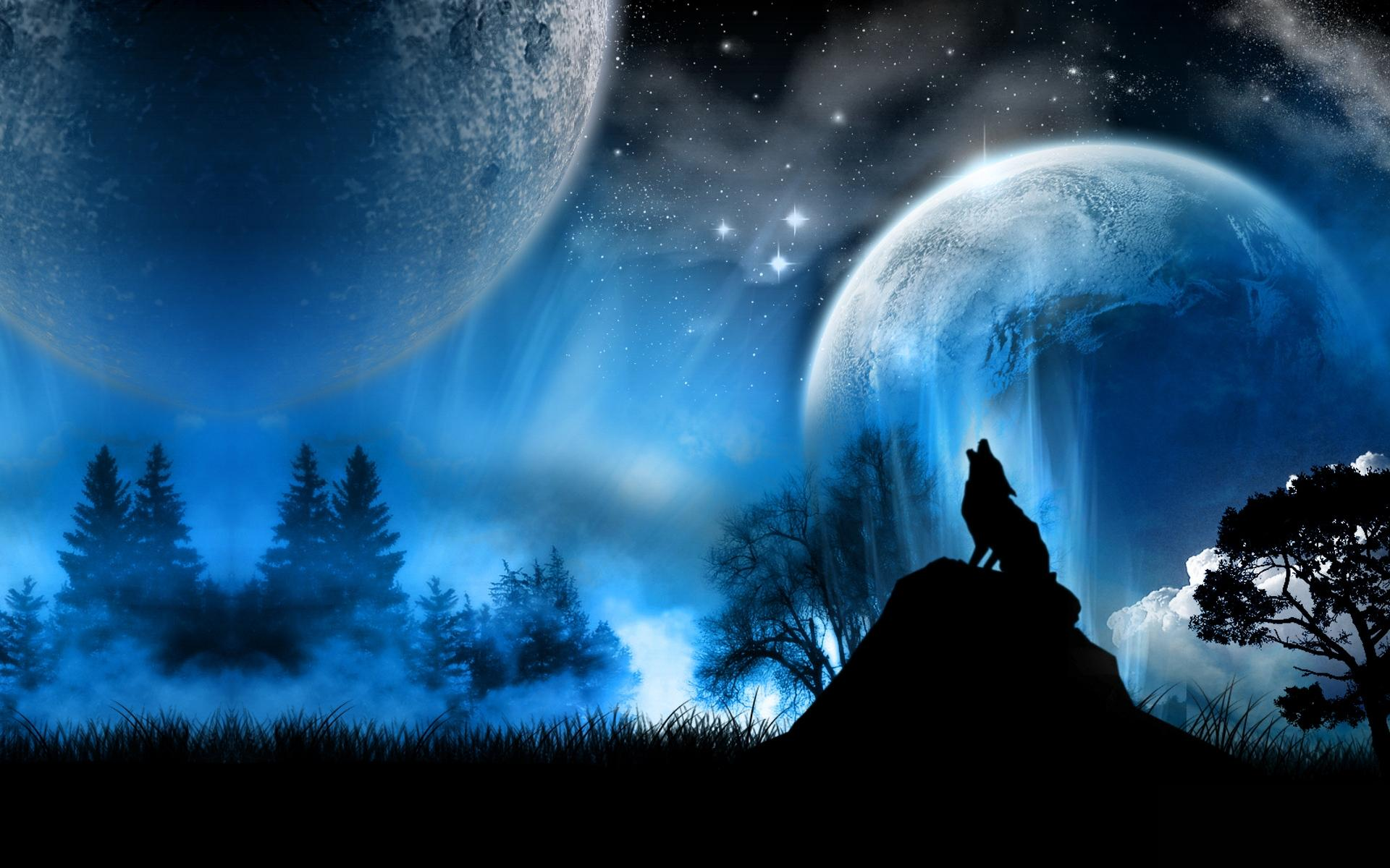 Обои космос космос планеты волк 1920x1200