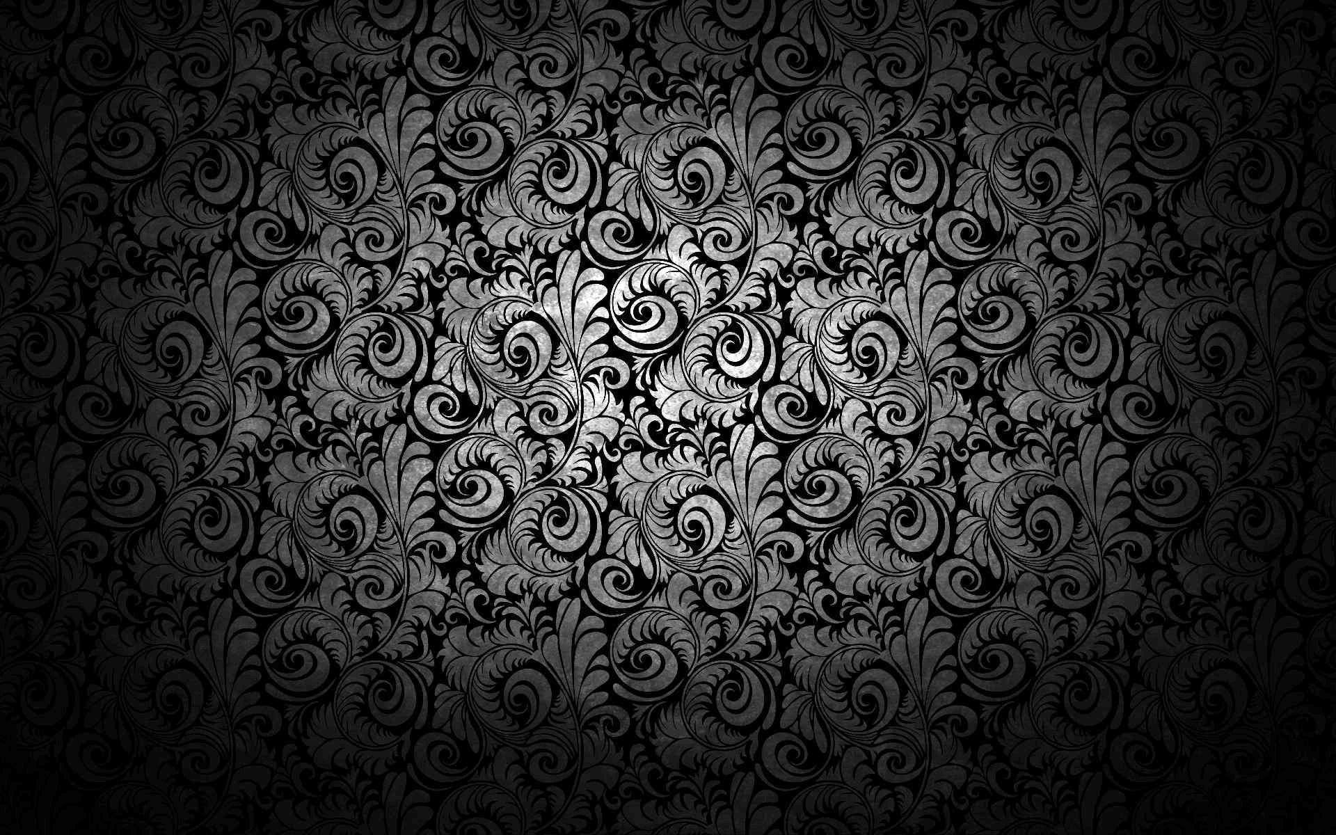 Черный фон с узорами и завитками 1920x1200