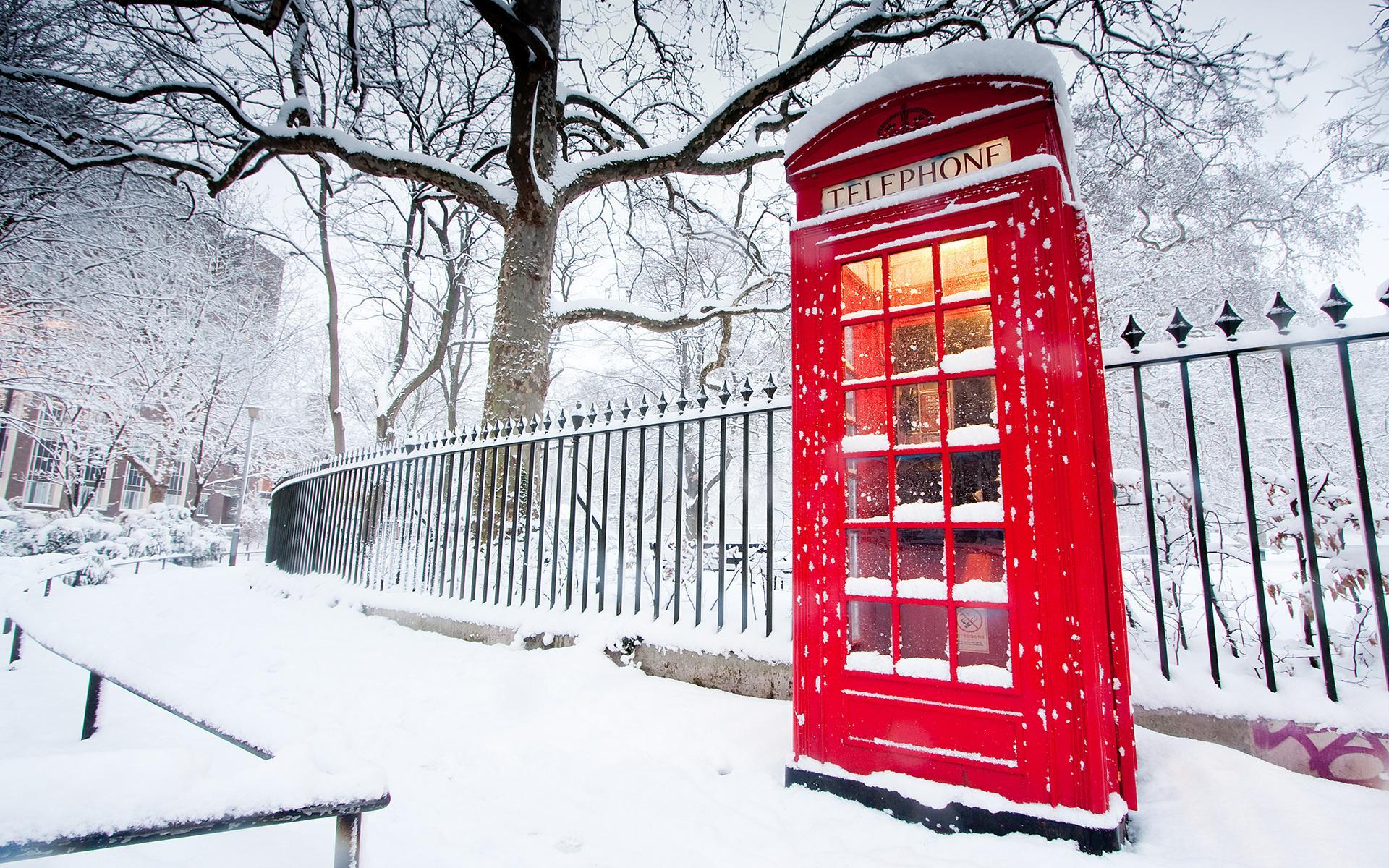 Англия лондон телефонная будка зима