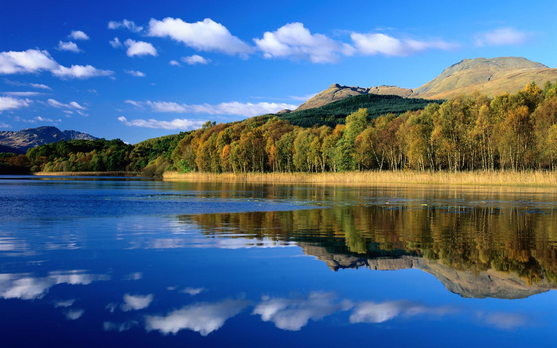 Озеро небо облака природа лето обои